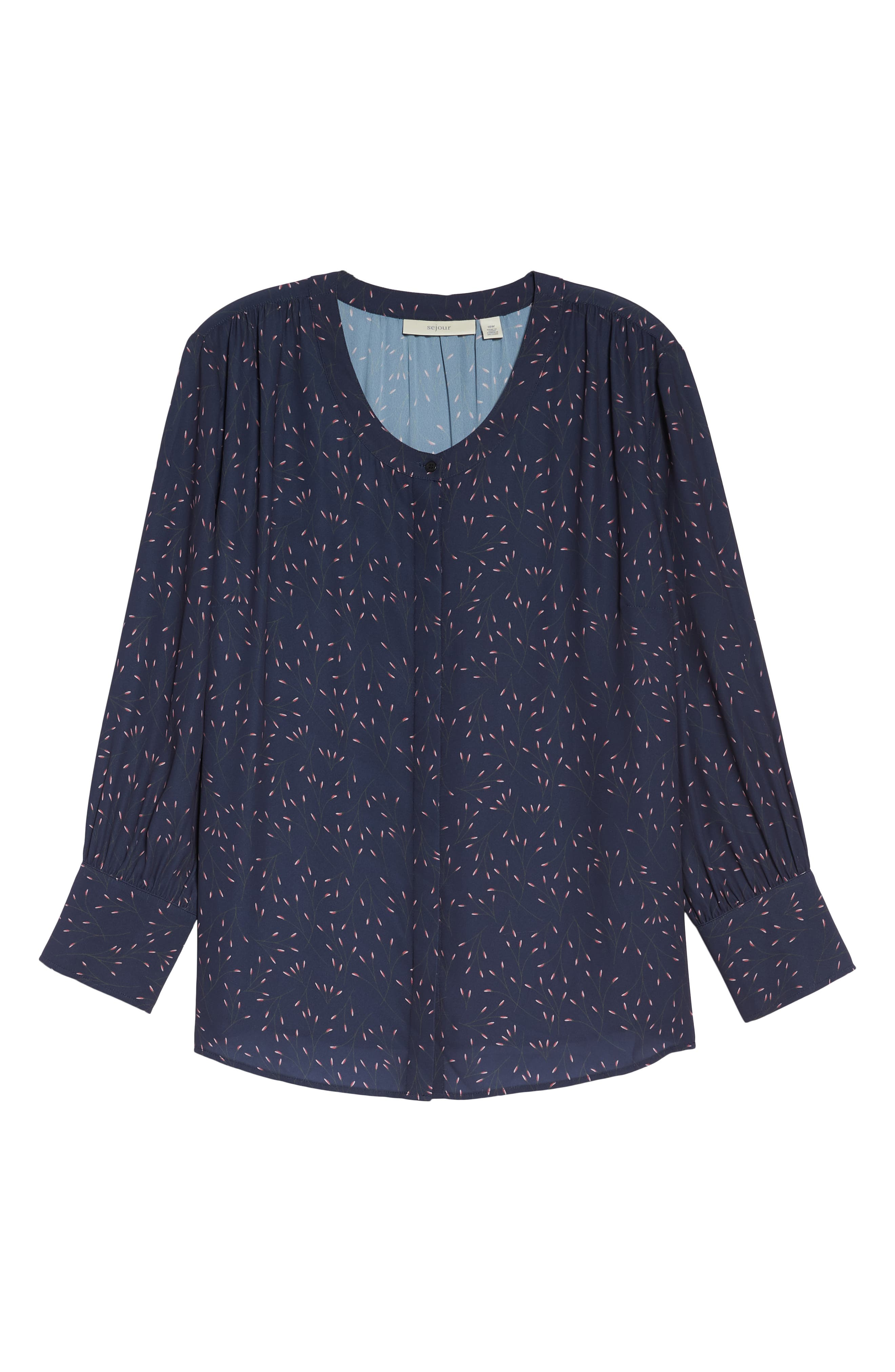 Placket Front Blouse,                             Alternate thumbnail 6, color,                             NAVY WHISPERING WILLOWS PRINT