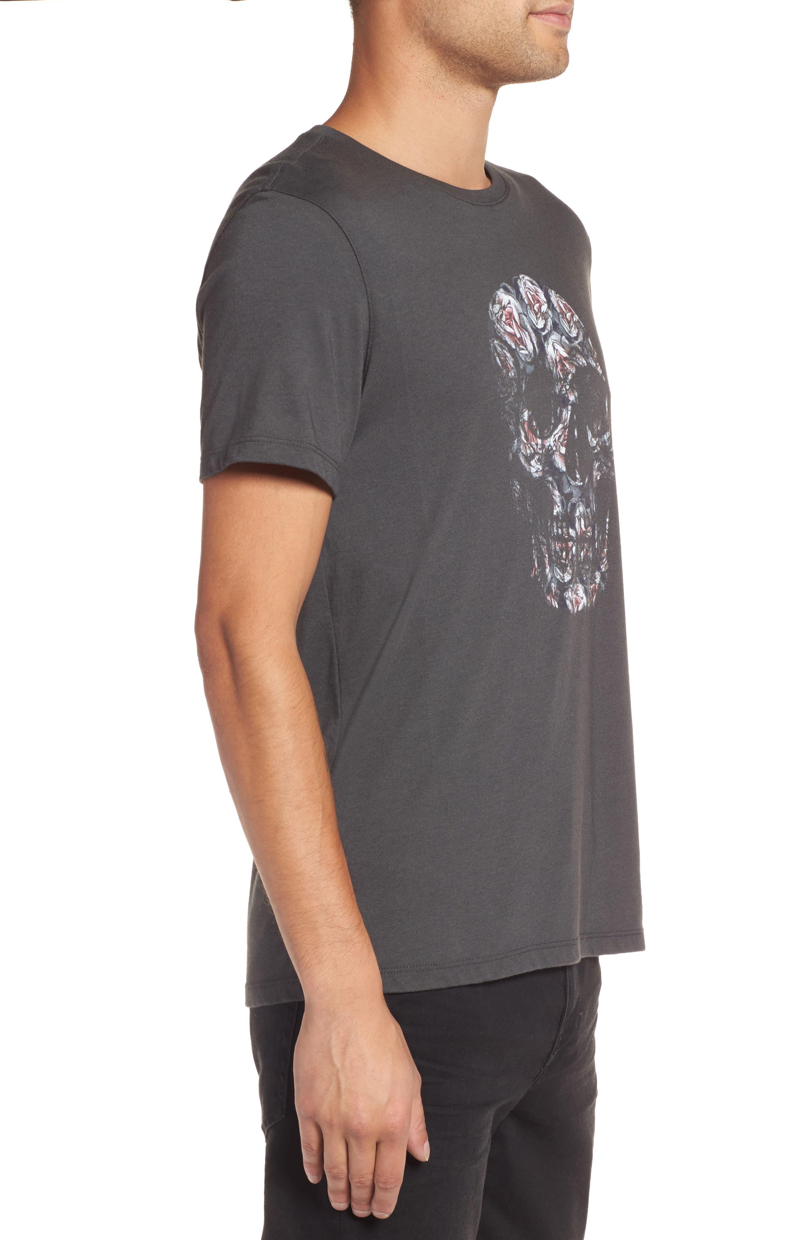 John Varvatos Floral Skull Graphic T-Shirt,                             Alternate thumbnail 3, color,                             001