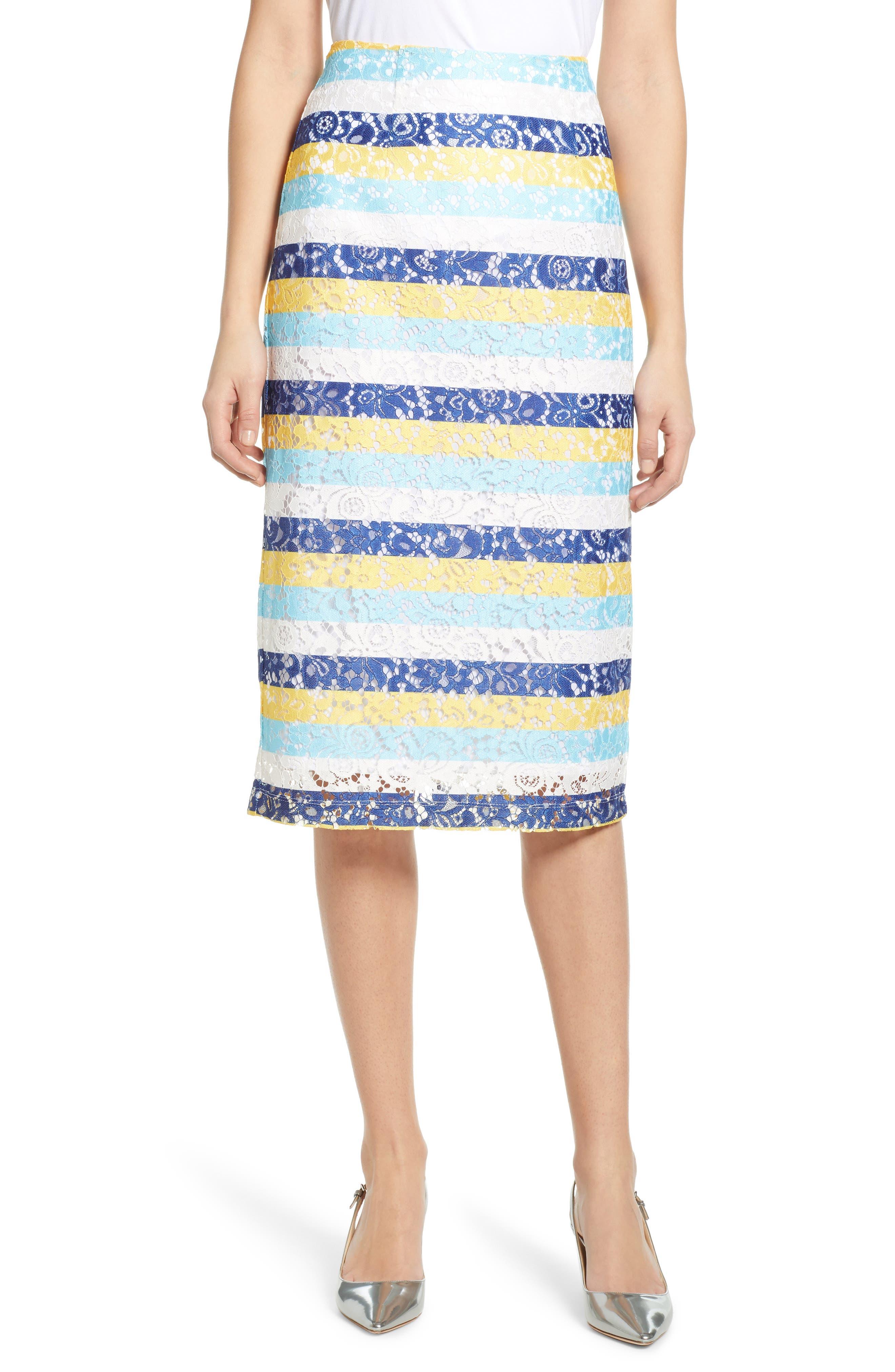 Halogen Lace Pencil Skirt, Blue