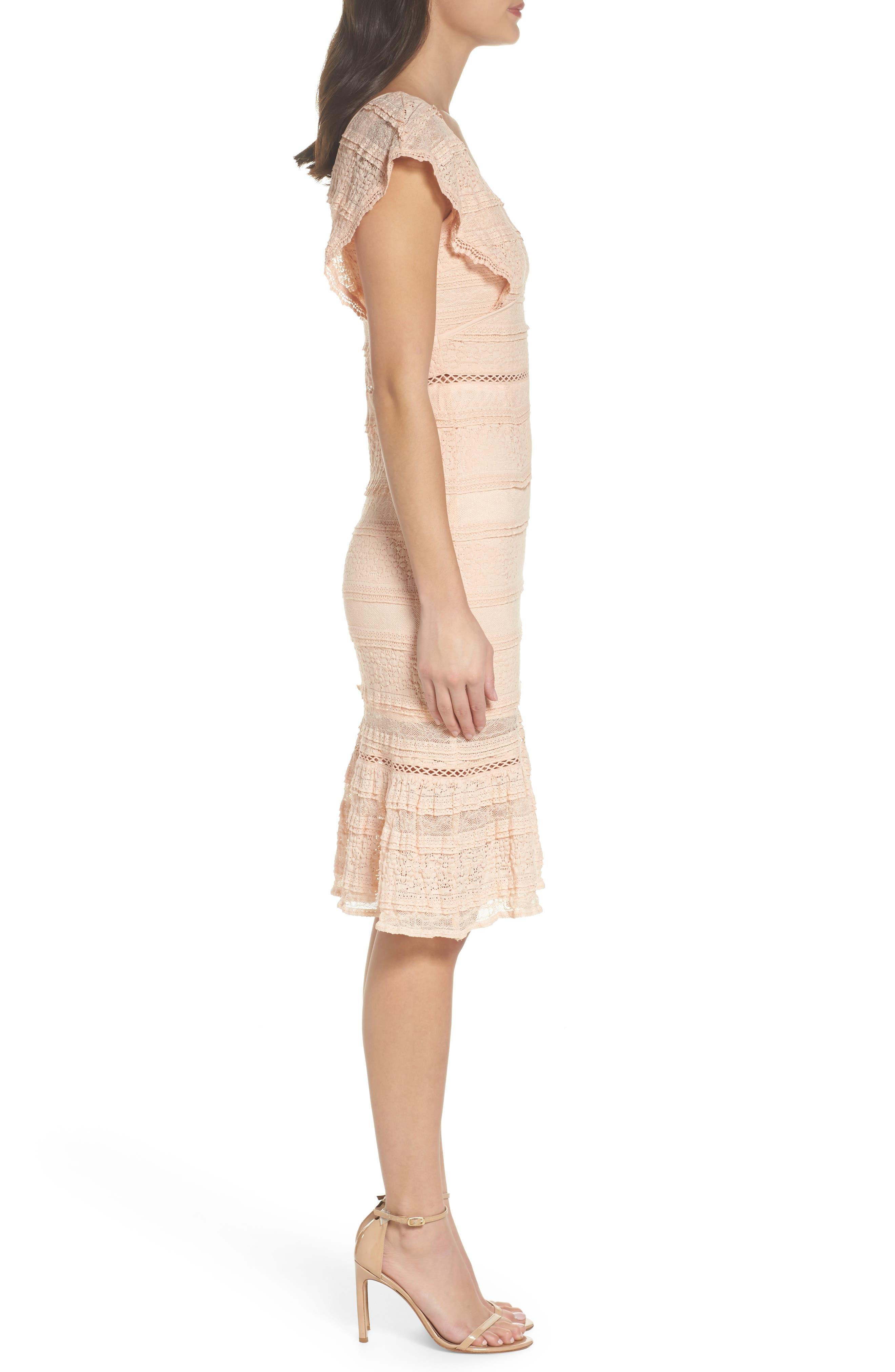 Makayla Flutter Trim Lace Sheath Dress,                             Alternate thumbnail 3, color,