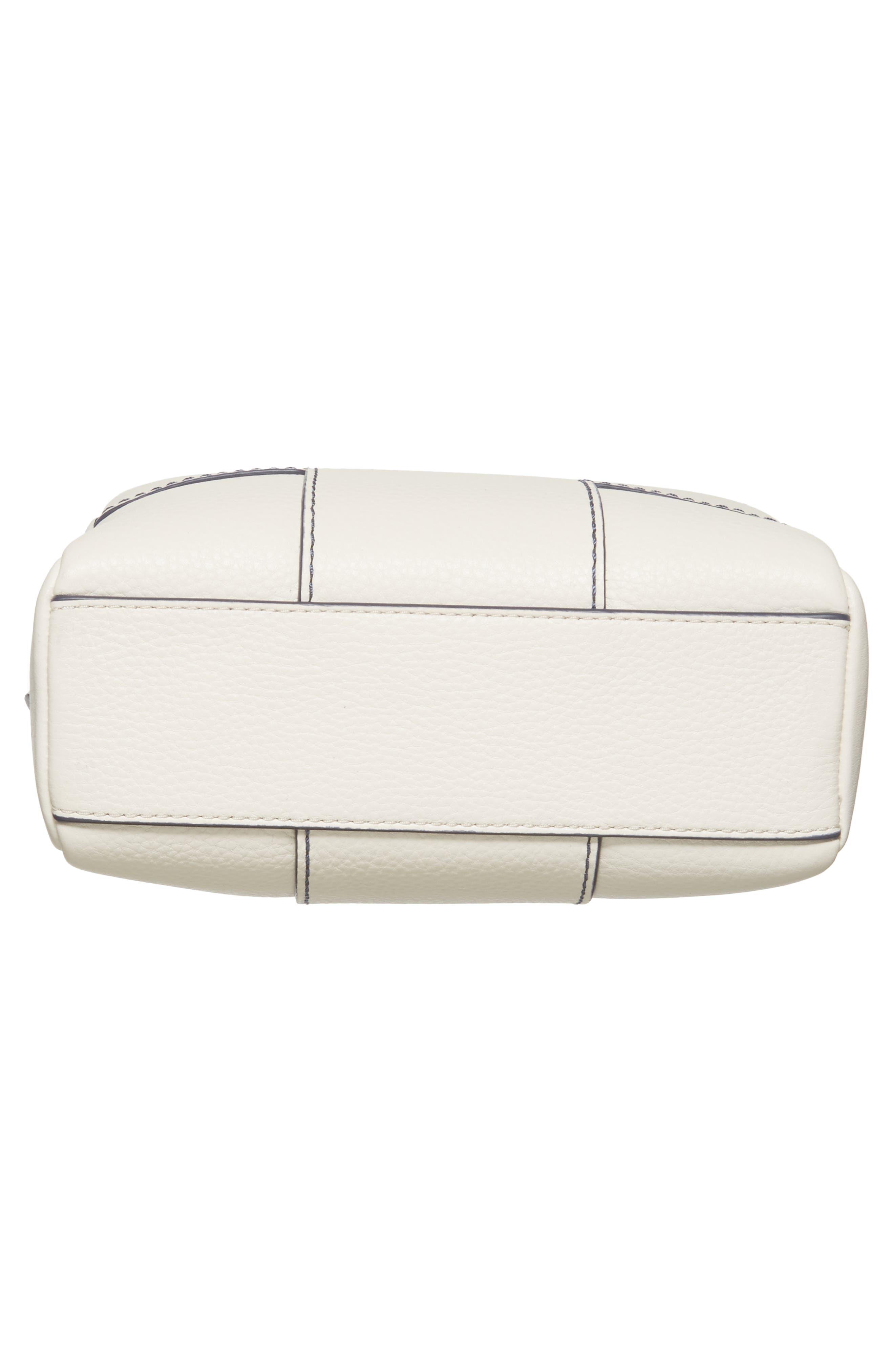 Block-T Double Zip Leather Crossbody Bag,                             Alternate thumbnail 6, color,                             100