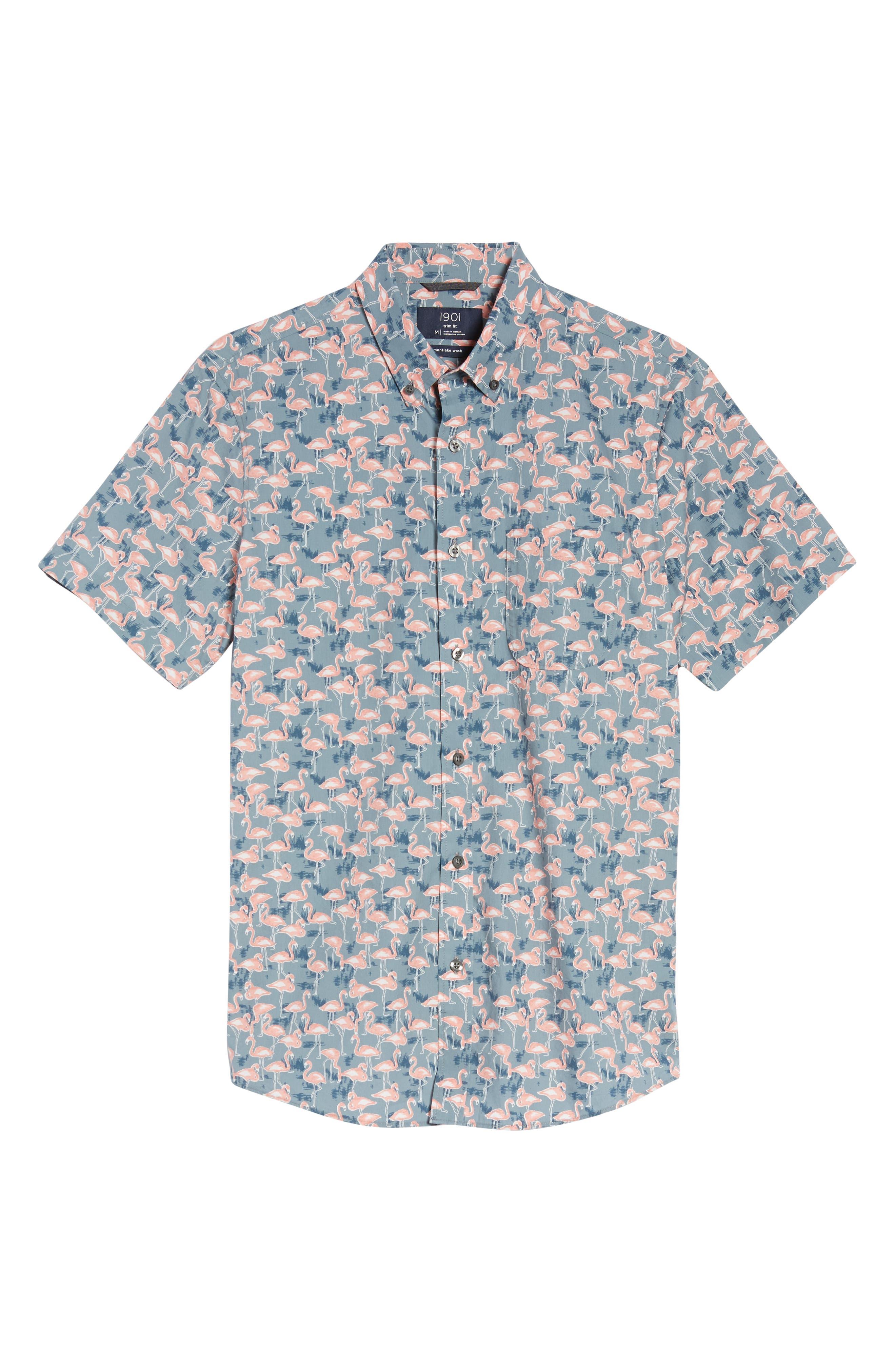 Trim Fit Print Short Sleeve Sport Shirt,                             Alternate thumbnail 6, color,                             GREY GRISALLE PINK FLAMINGOS