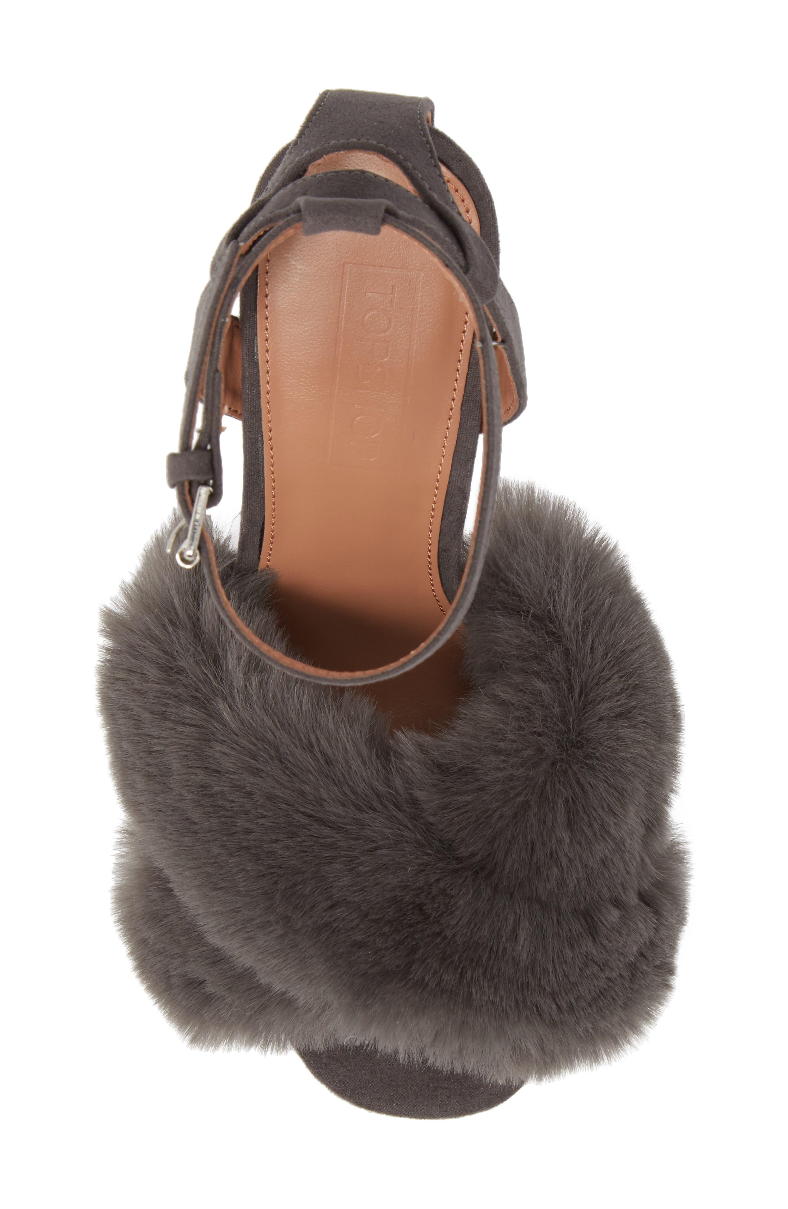 Sassy Faux Fur Sandal,                             Alternate thumbnail 13, color,