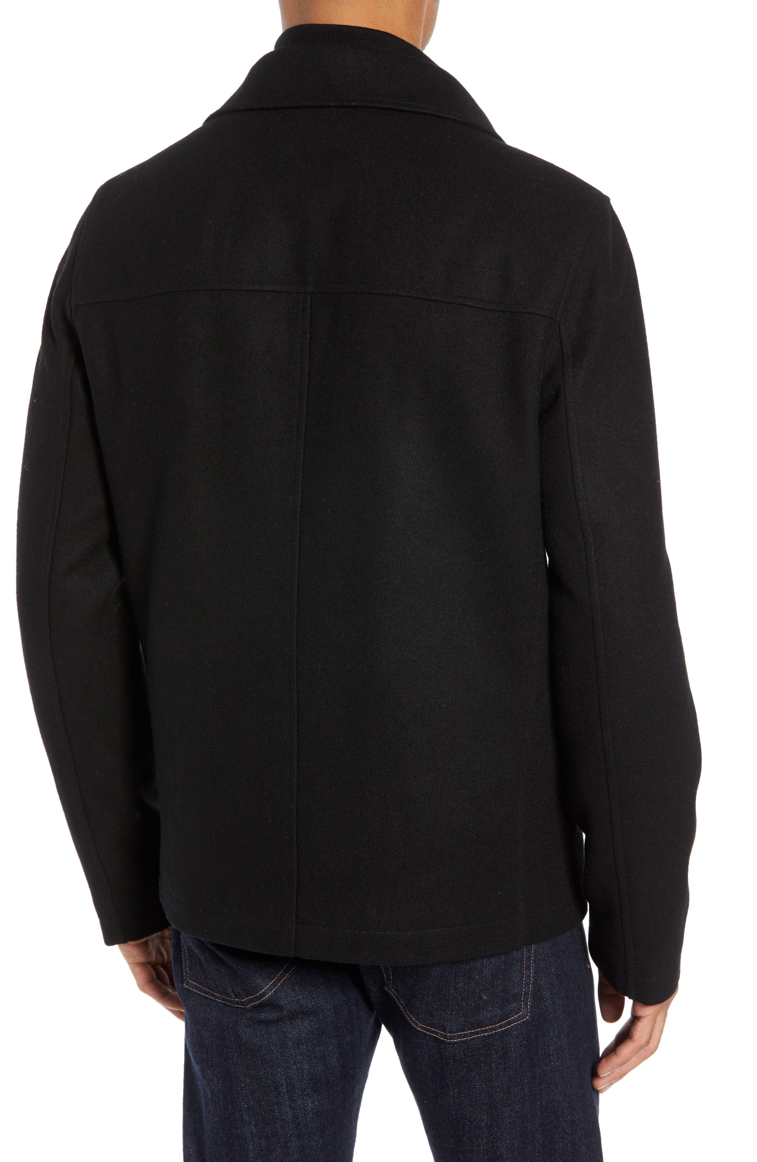 Layered Wool Blend Coat,                             Alternate thumbnail 2, color,                             BLACK
