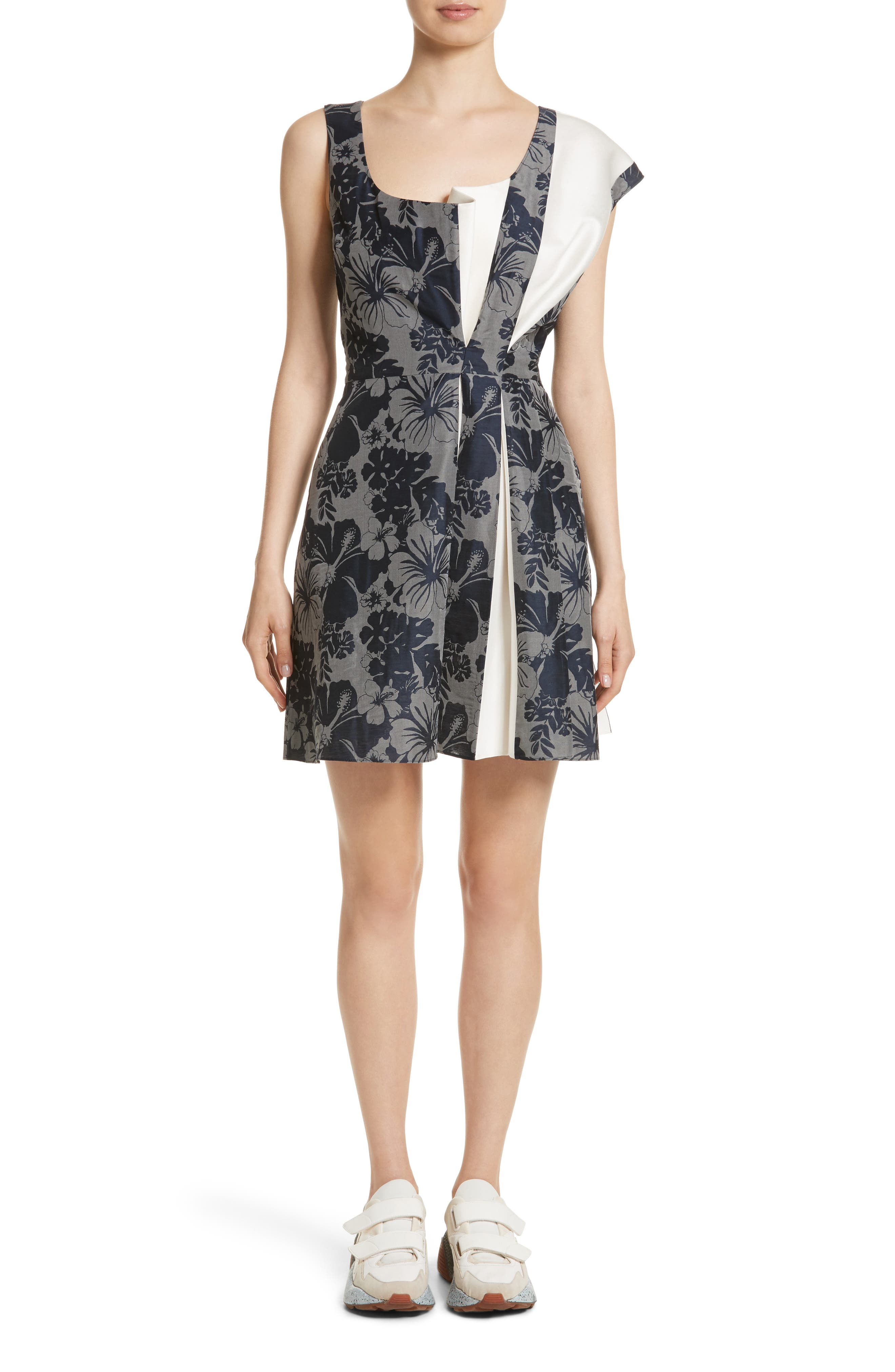 Pleated Floral Jacquard Dress,                         Main,                         color, 001