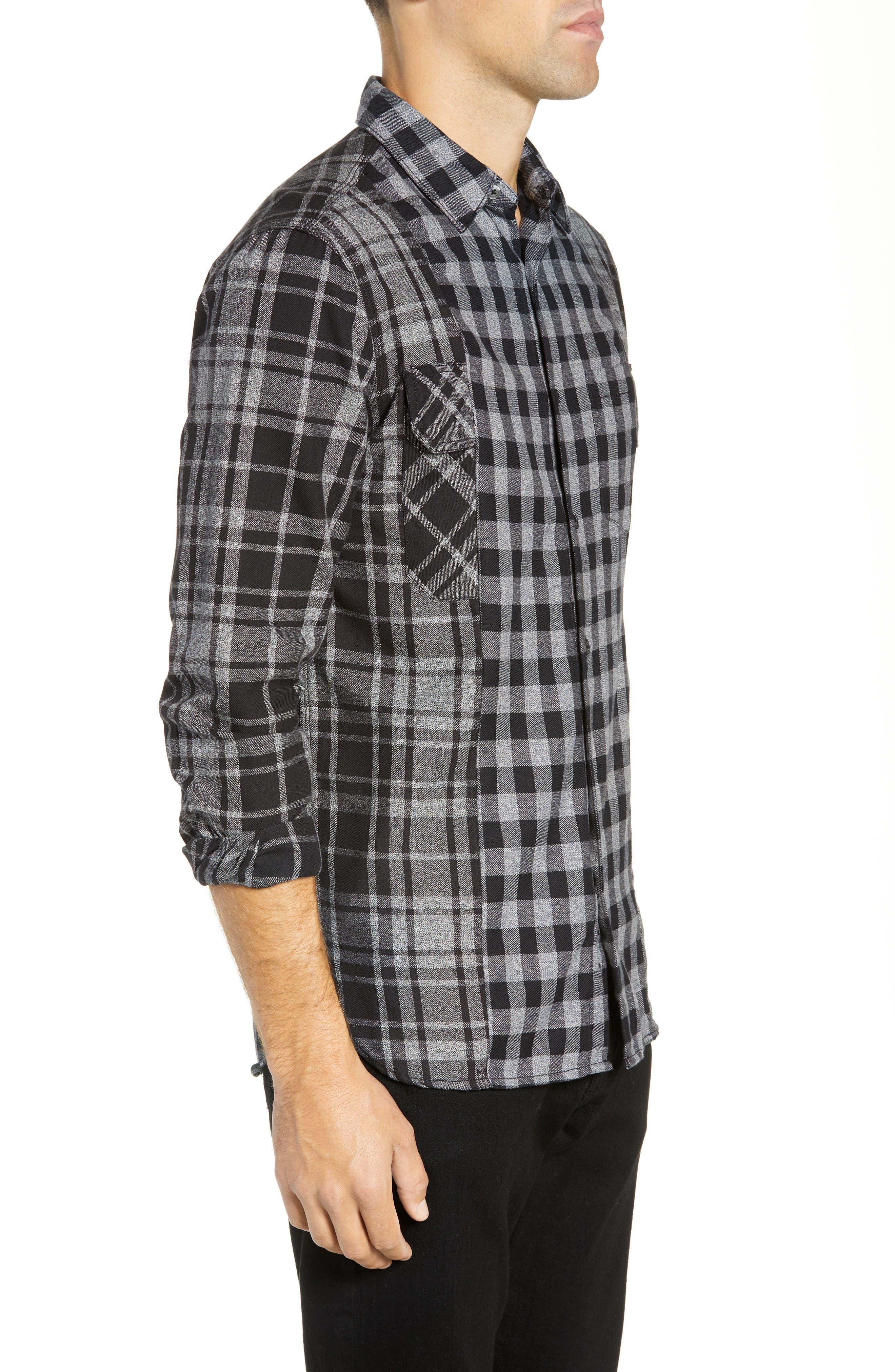 Bits & Pieces Loose Fit Sport Shirt,                             Alternate thumbnail 4, color,                             BLACK CHECKS