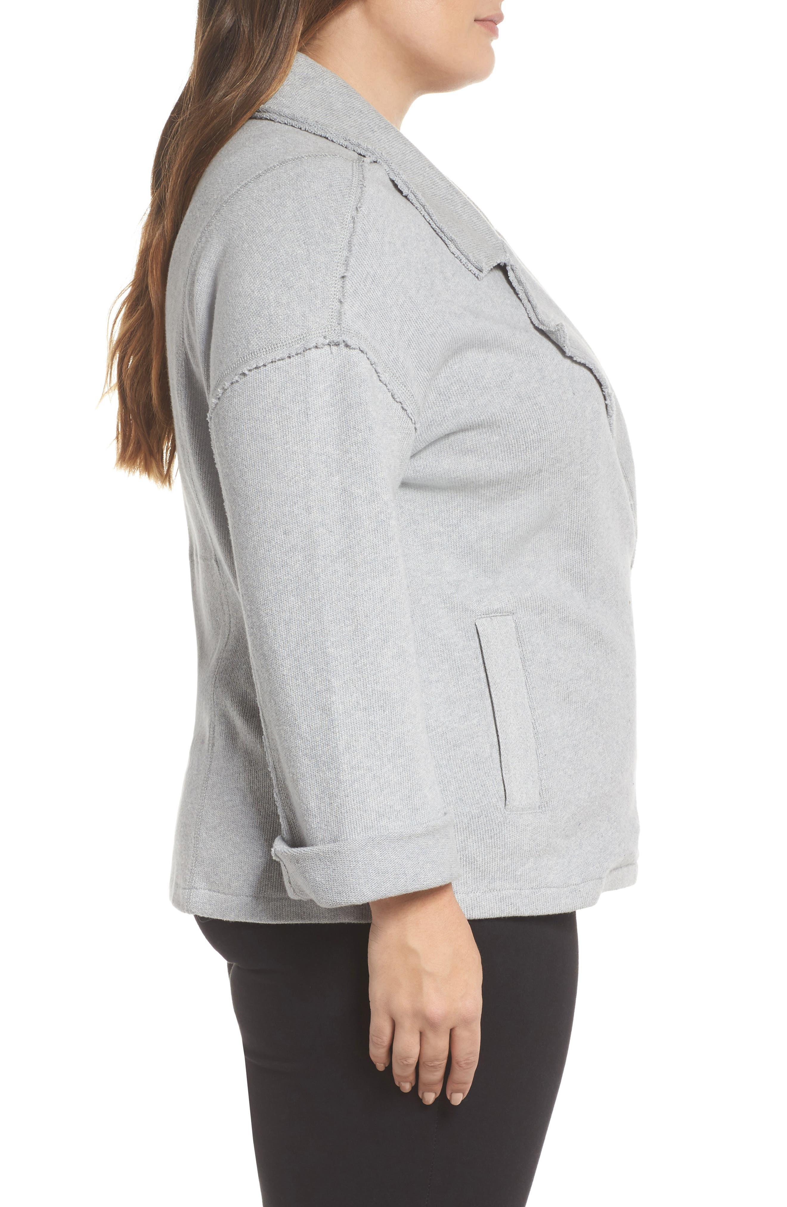 Knit Moto Jacket,                             Alternate thumbnail 3, color,                             030