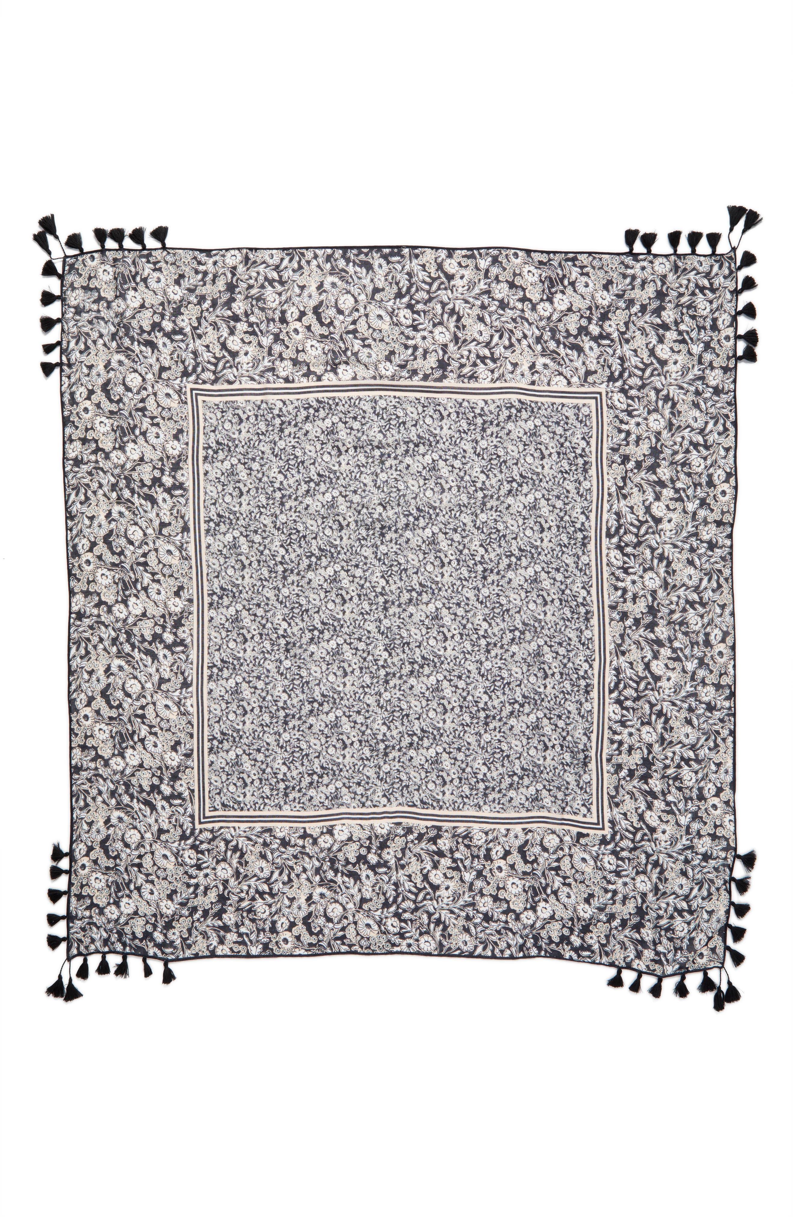 Wildflower Tassel Square Scarf,                             Alternate thumbnail 3, color,                             001