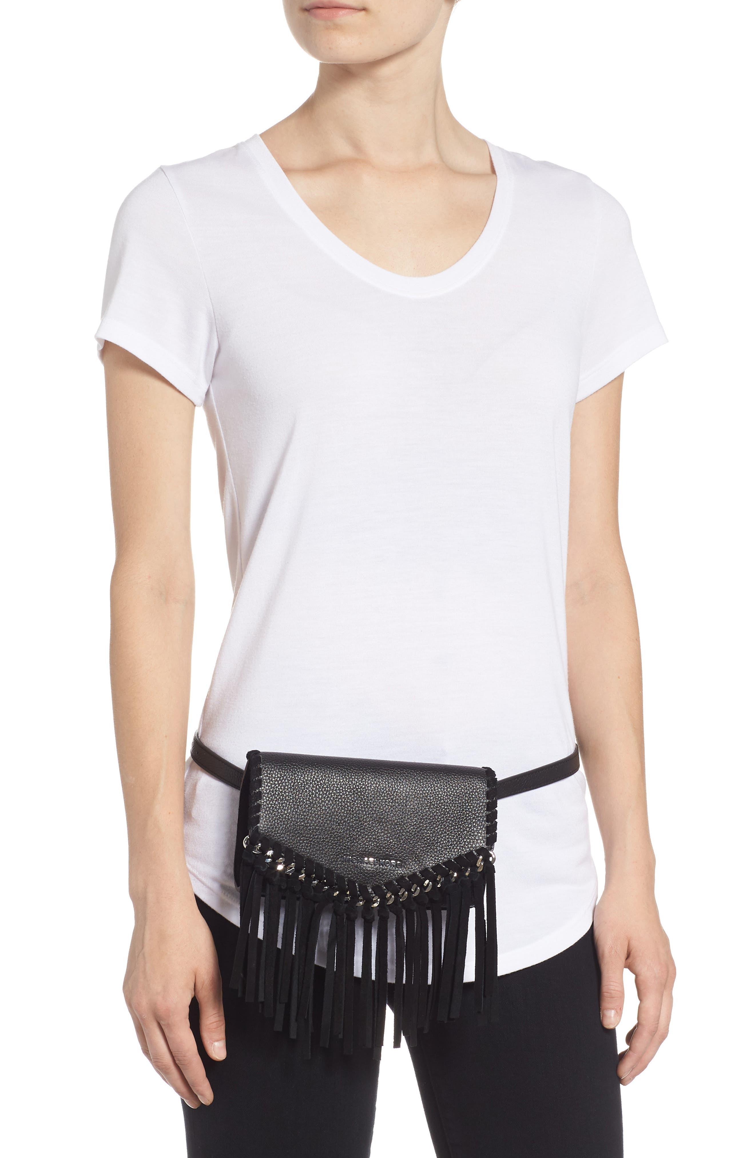 Fringe Leather Belt Bag,                             Alternate thumbnail 2, color,                             BLACK / POL SILVER