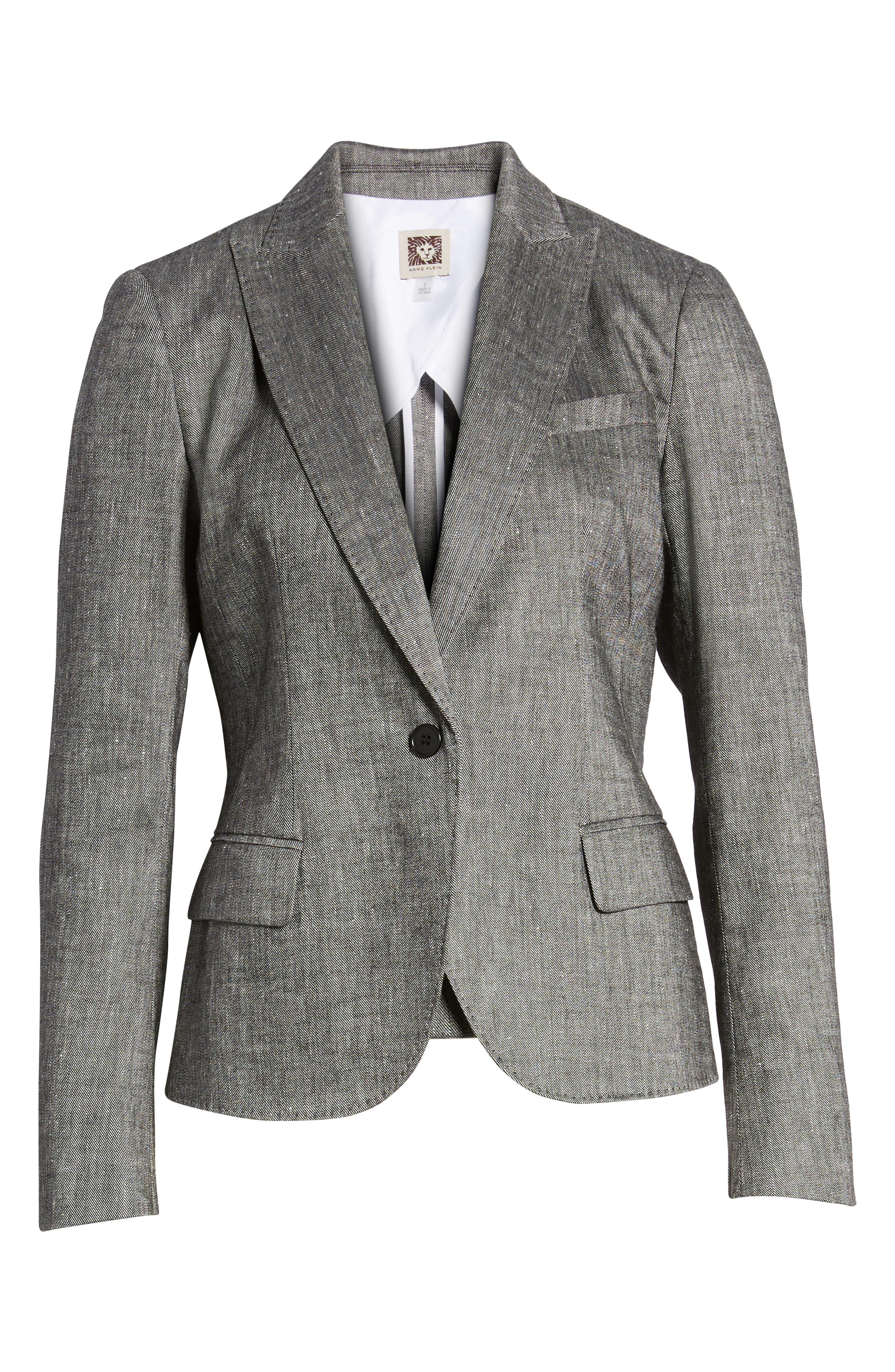 Linen Blend One-Button Suit Jacket,                             Alternate thumbnail 5, color,                             001