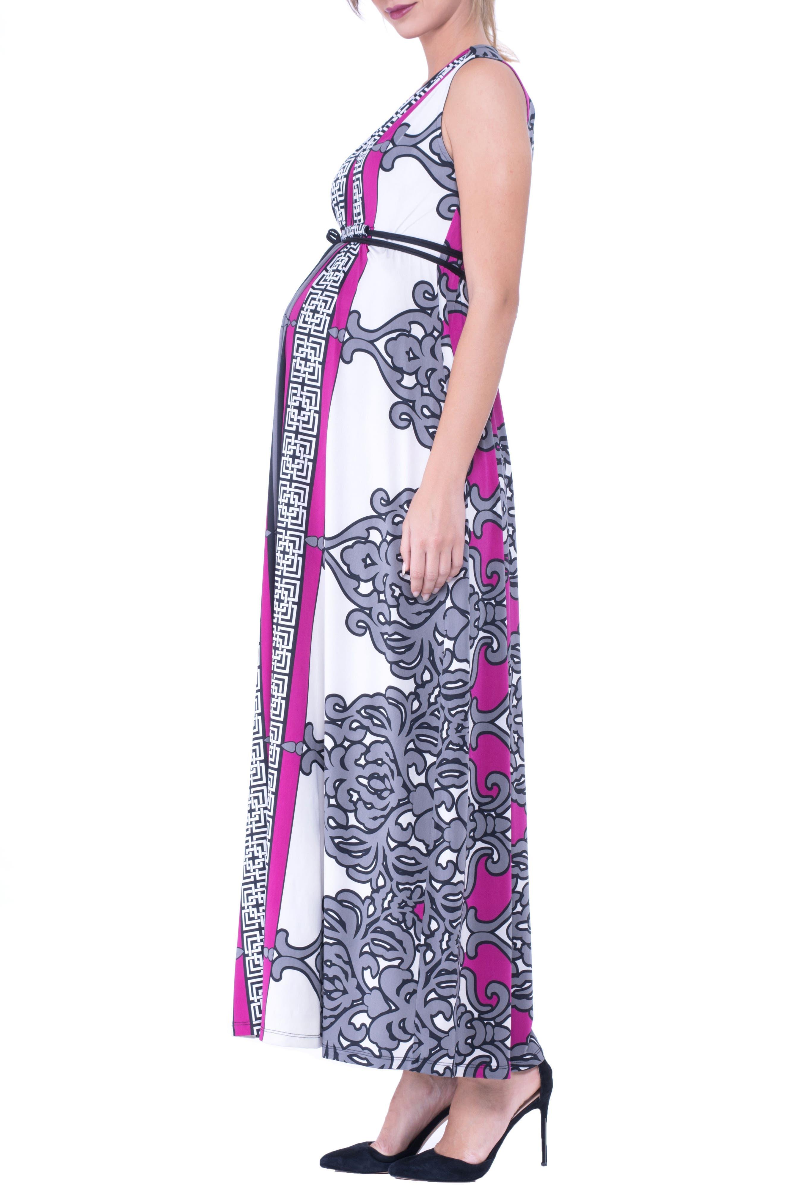 Print Maxi Maternity Dress,                             Alternate thumbnail 3, color,                             025