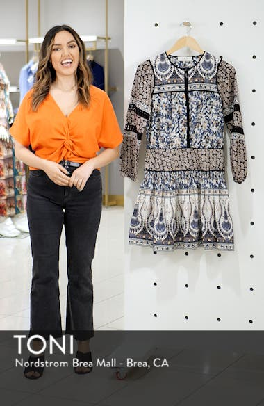 Gemma Contrast Binding Peasant Dress, sales video thumbnail