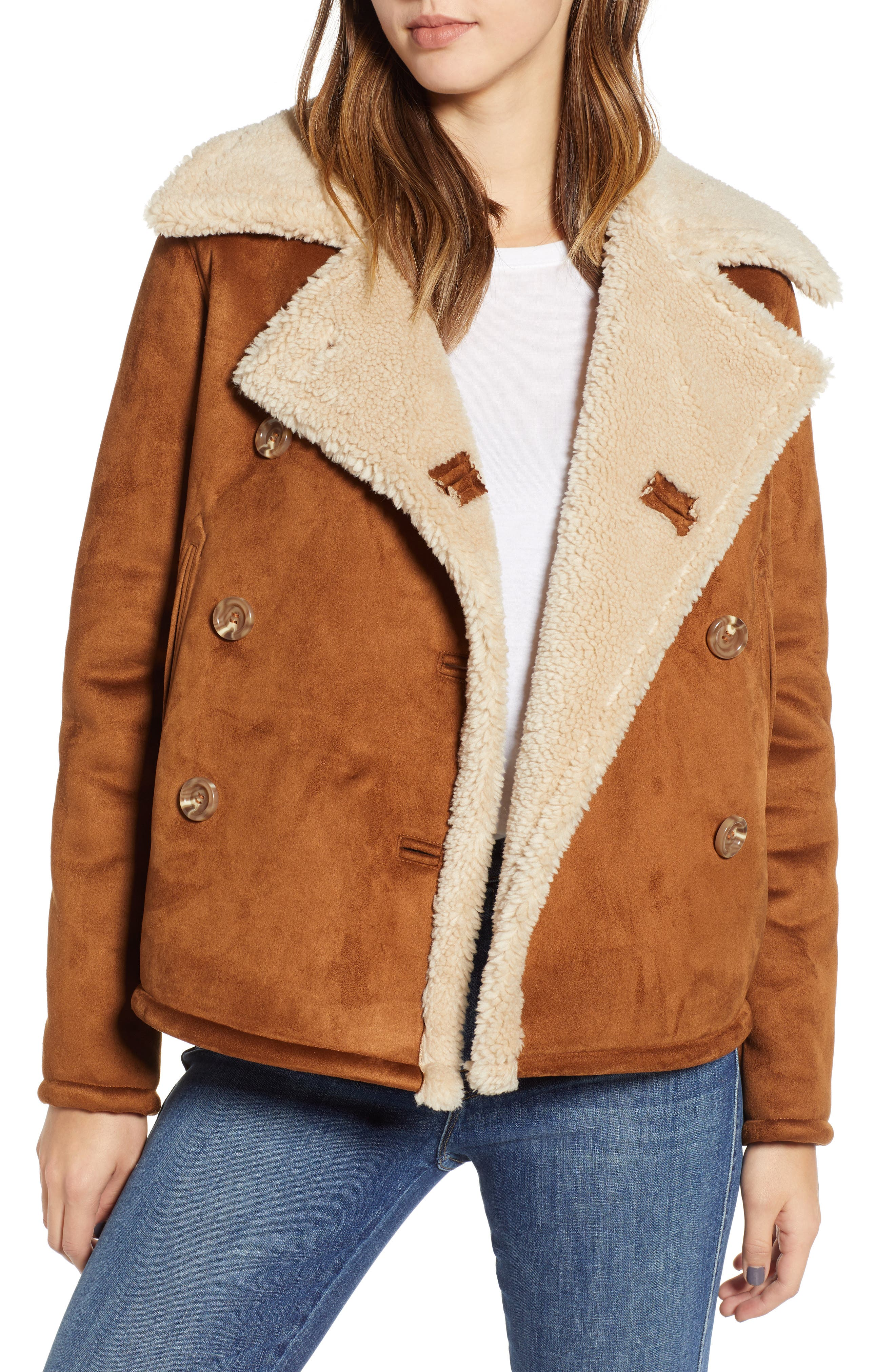 The Shrunken Faux Shearling Peacoat,                             Main thumbnail 1, color,                             TOAST TWILL