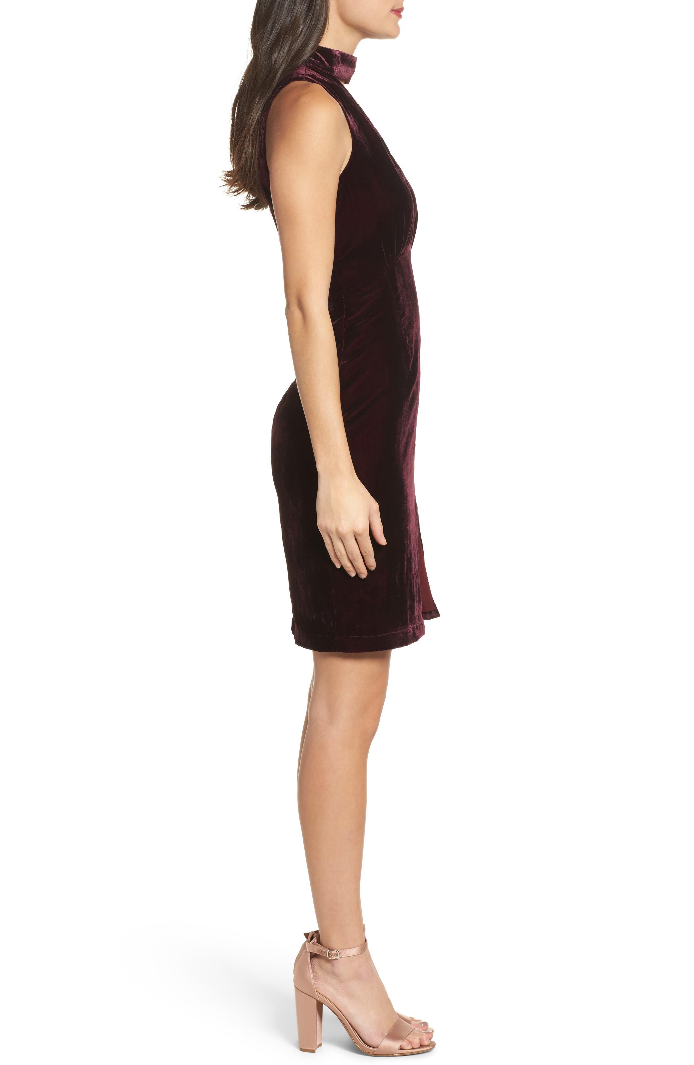 Elle Velvet Choker Sheath Dress,                             Alternate thumbnail 3, color,                             931
