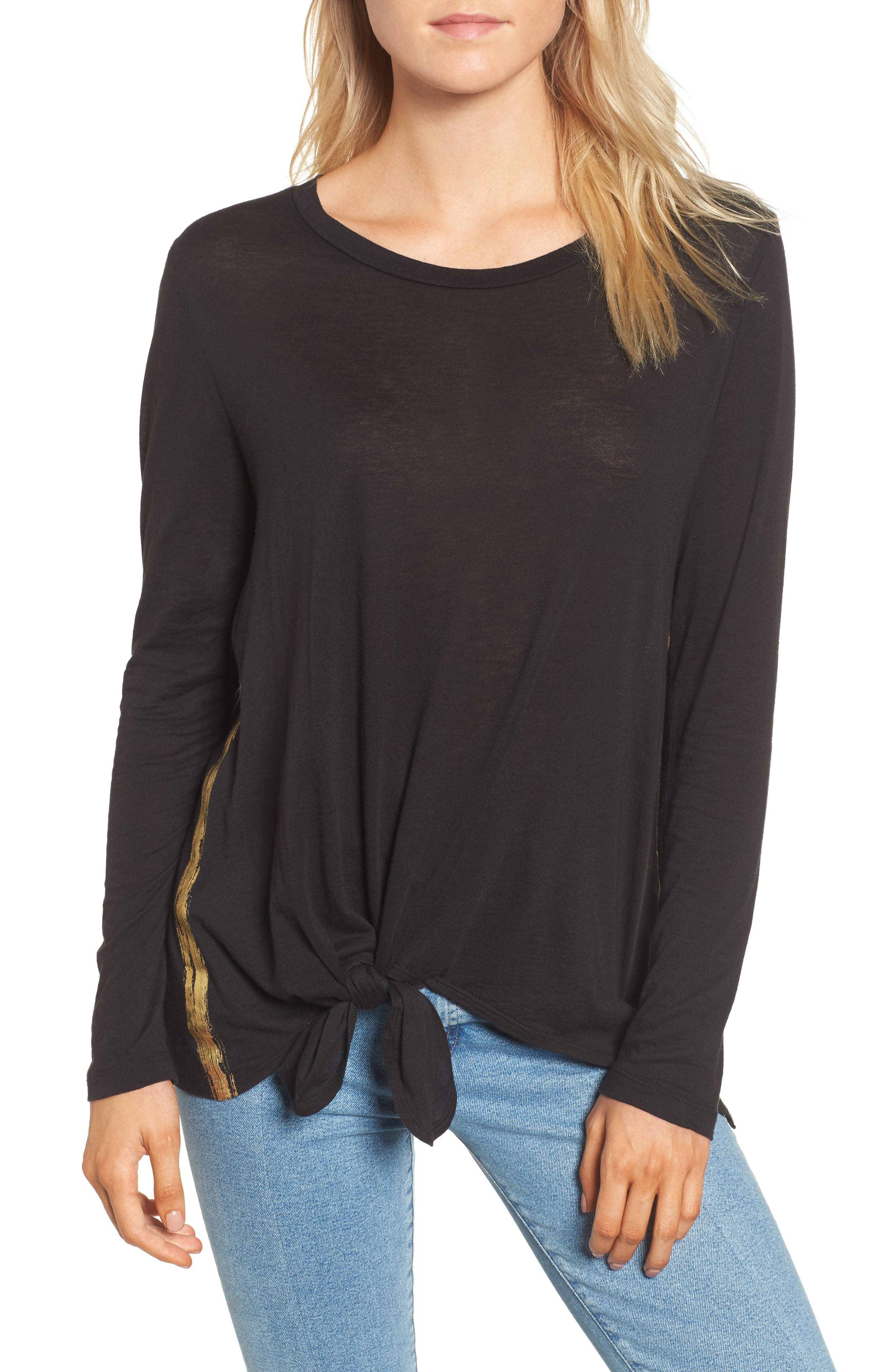 Knotted Hem Top,                             Main thumbnail 1, color,                             001