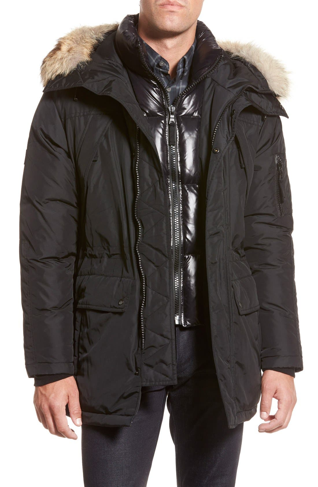 'Avalanche' Quilted Jacket with Genuine Coyote Fur Trim, Main, color, 001