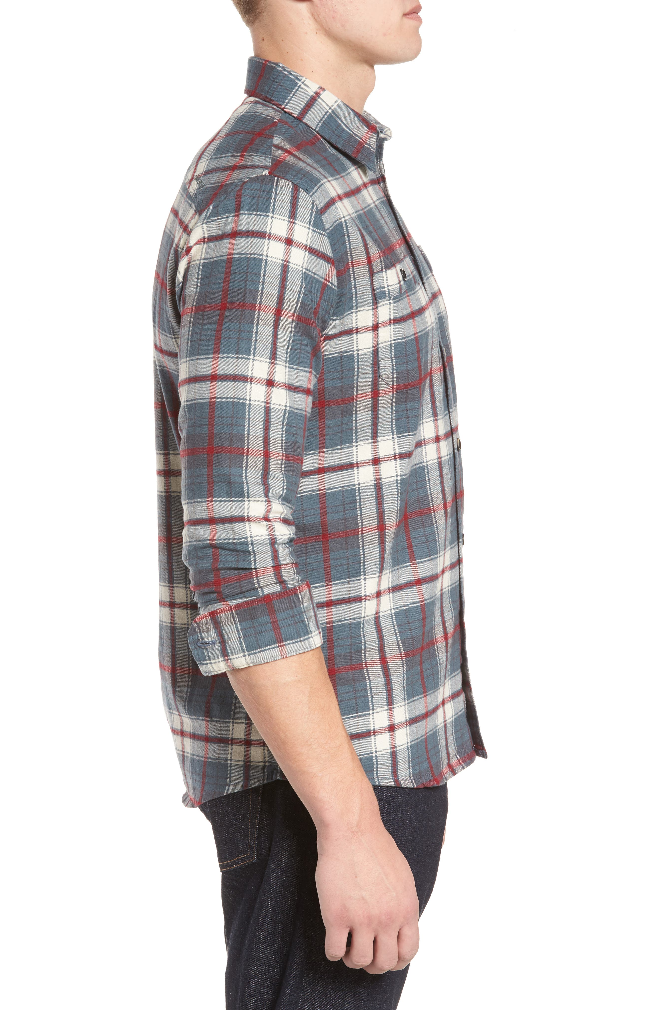 Raleigh Plaid Flannel Sport Shirt,                             Alternate thumbnail 3, color,                             009