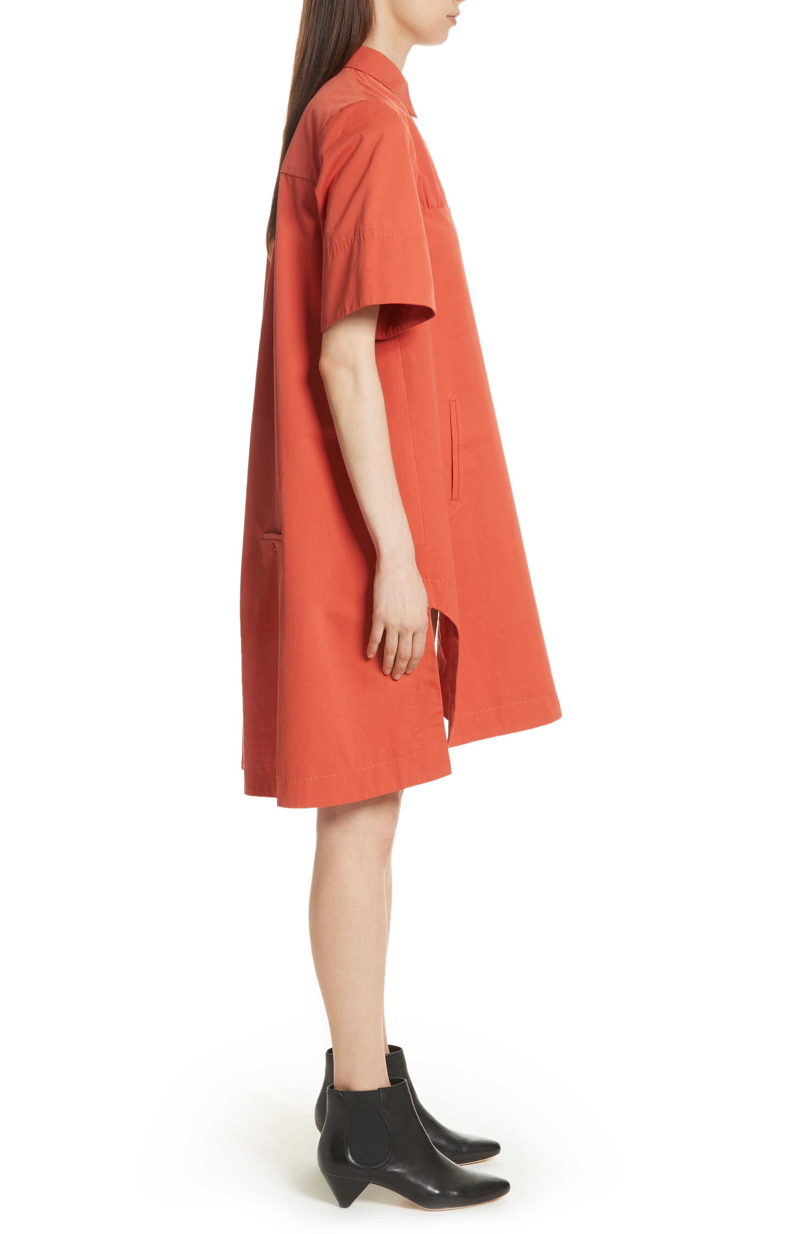 Cotton Poplin Shirtdress,                             Alternate thumbnail 3, color,