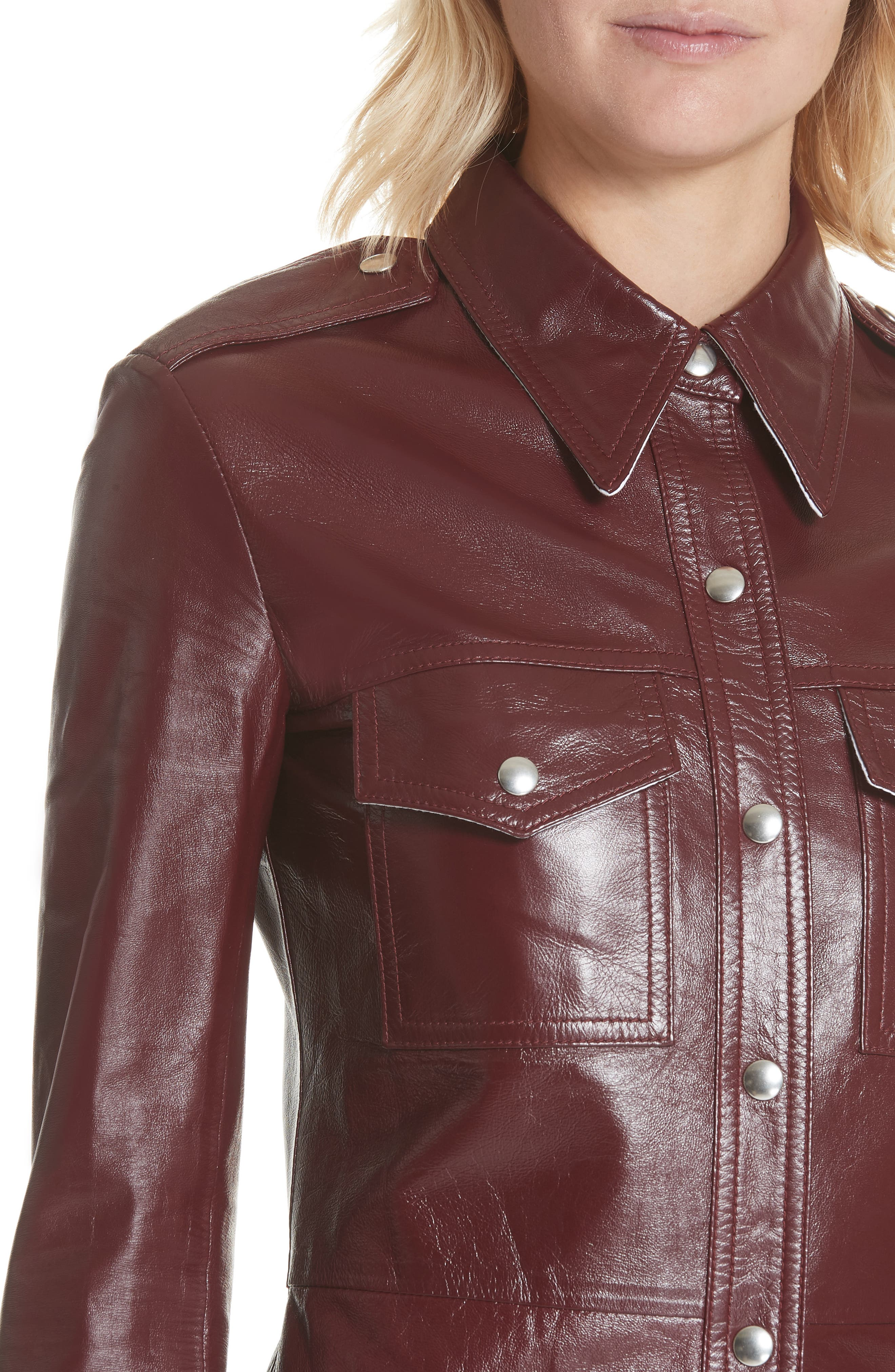 Leather Western Shirtdress,                             Alternate thumbnail 4, color,                             605