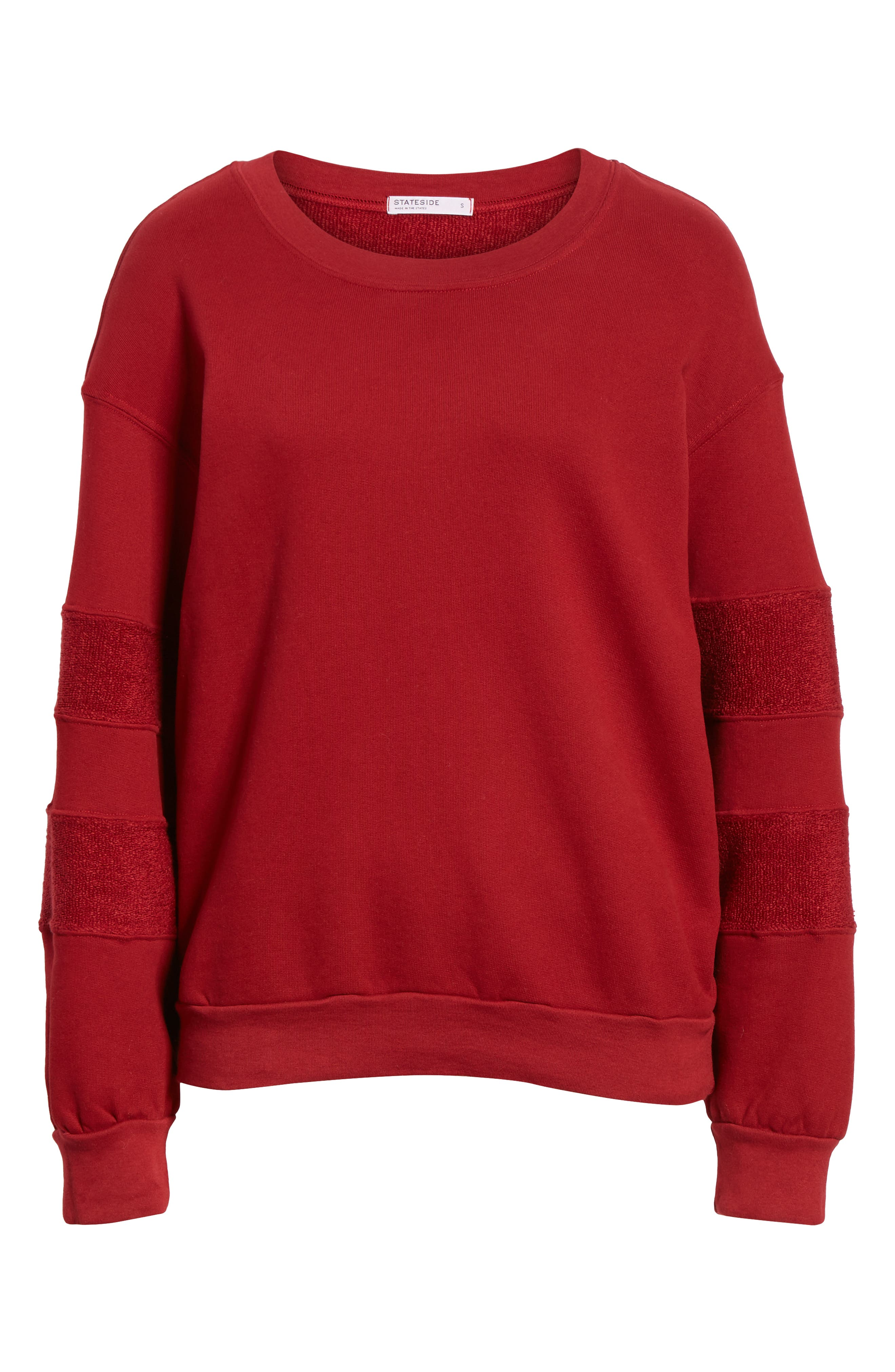 French Terry Stripe Sweatshirt,                             Alternate thumbnail 6, color,                             DEEP RED