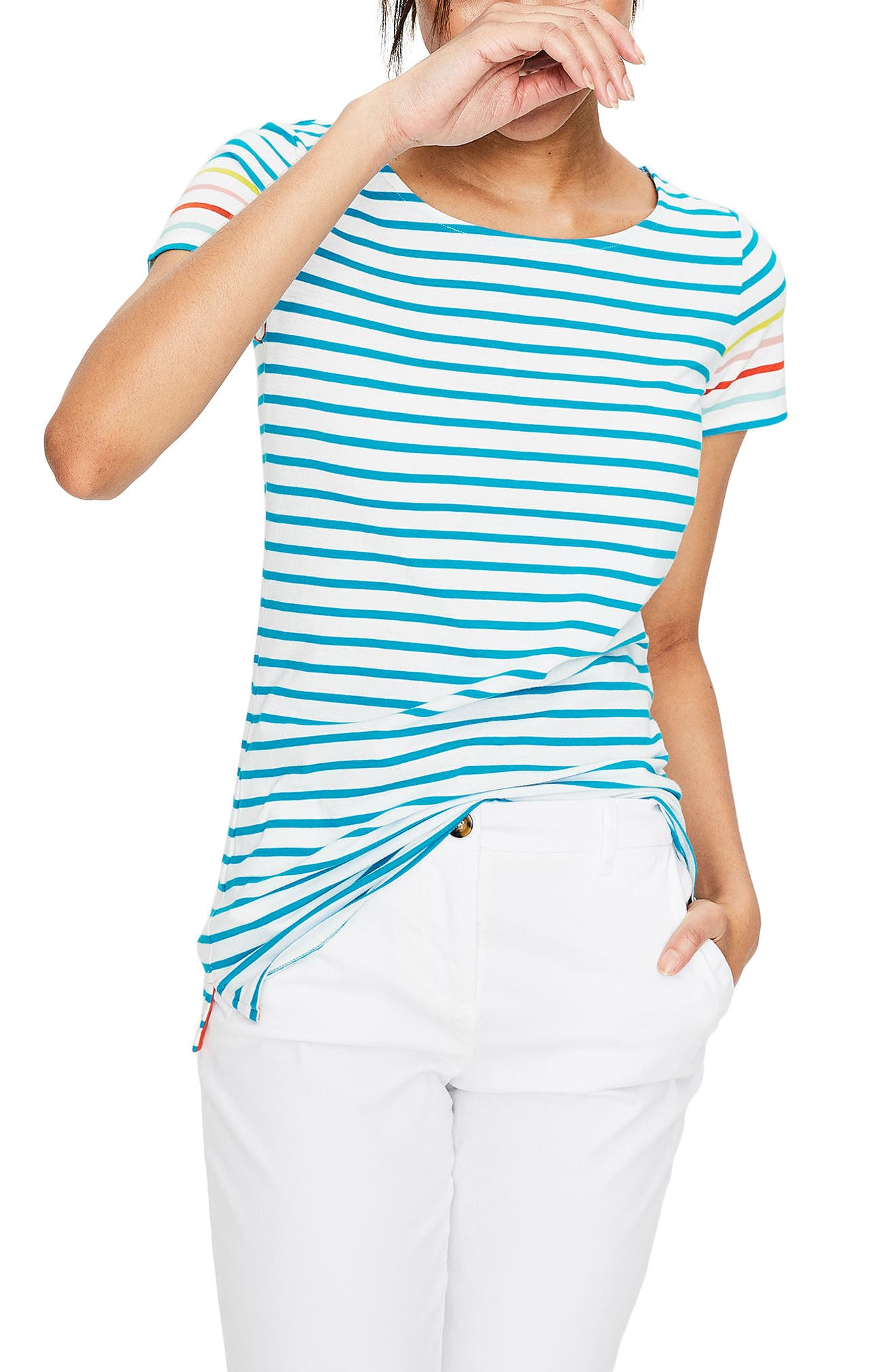 Breton Short Sleeve Stripe Cotton Top,                             Main thumbnail 1, color,                             454
