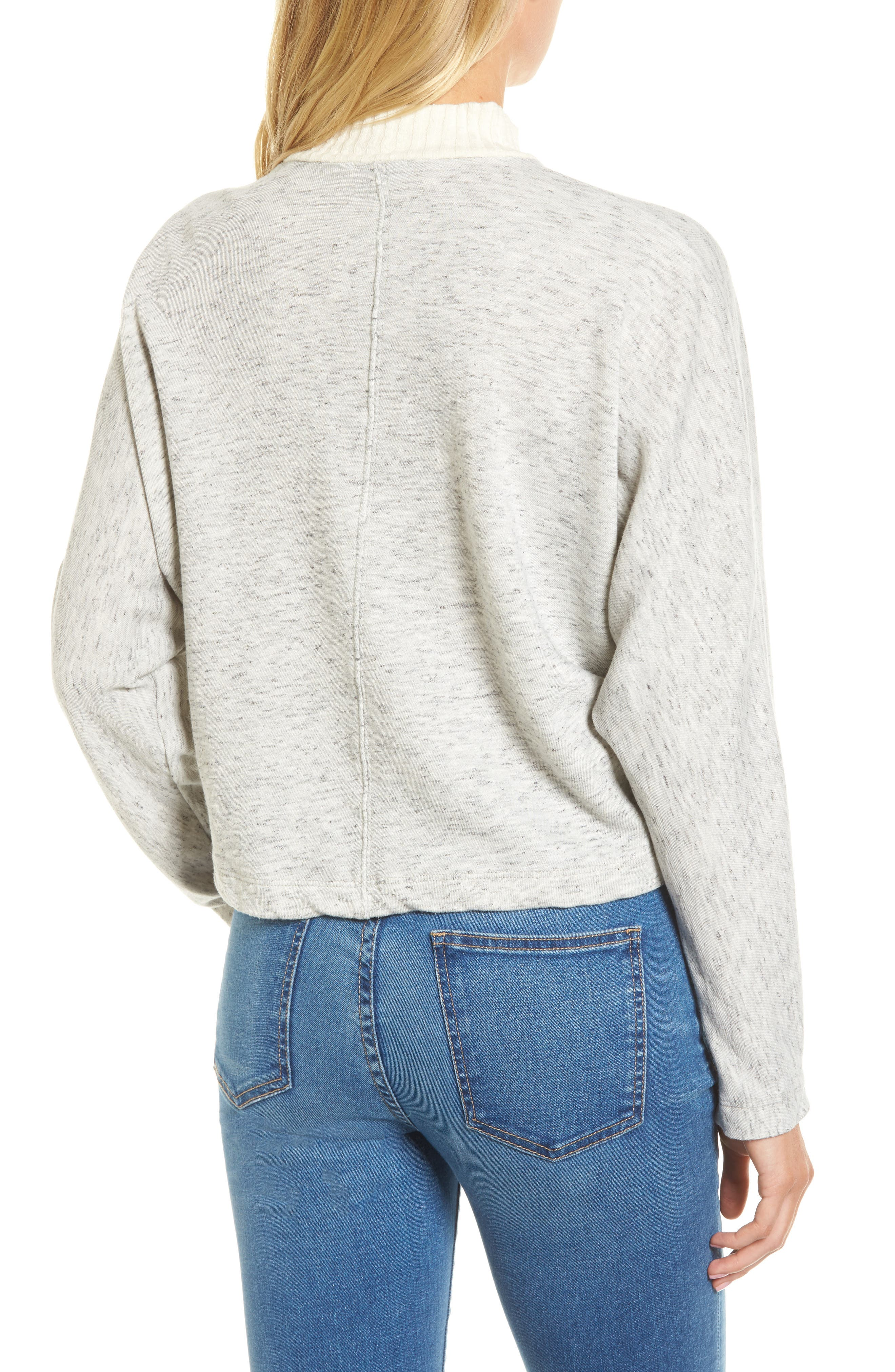 Sidelight Crop Mock Neck Pullover,                             Alternate thumbnail 2, color,                             GREY