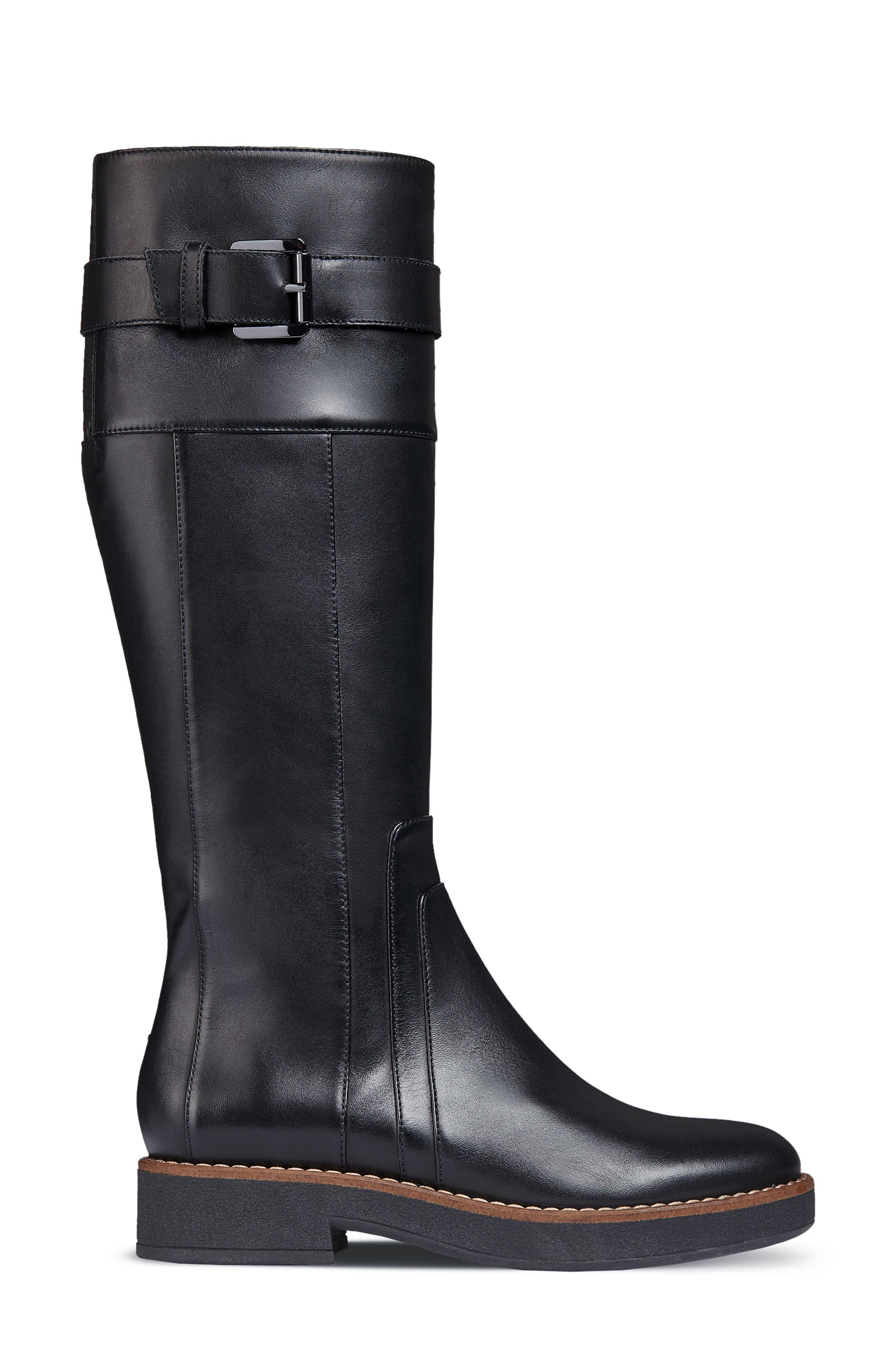 Adrya Knee High Boot,                             Alternate thumbnail 3, color,                             BLACK LEATHER