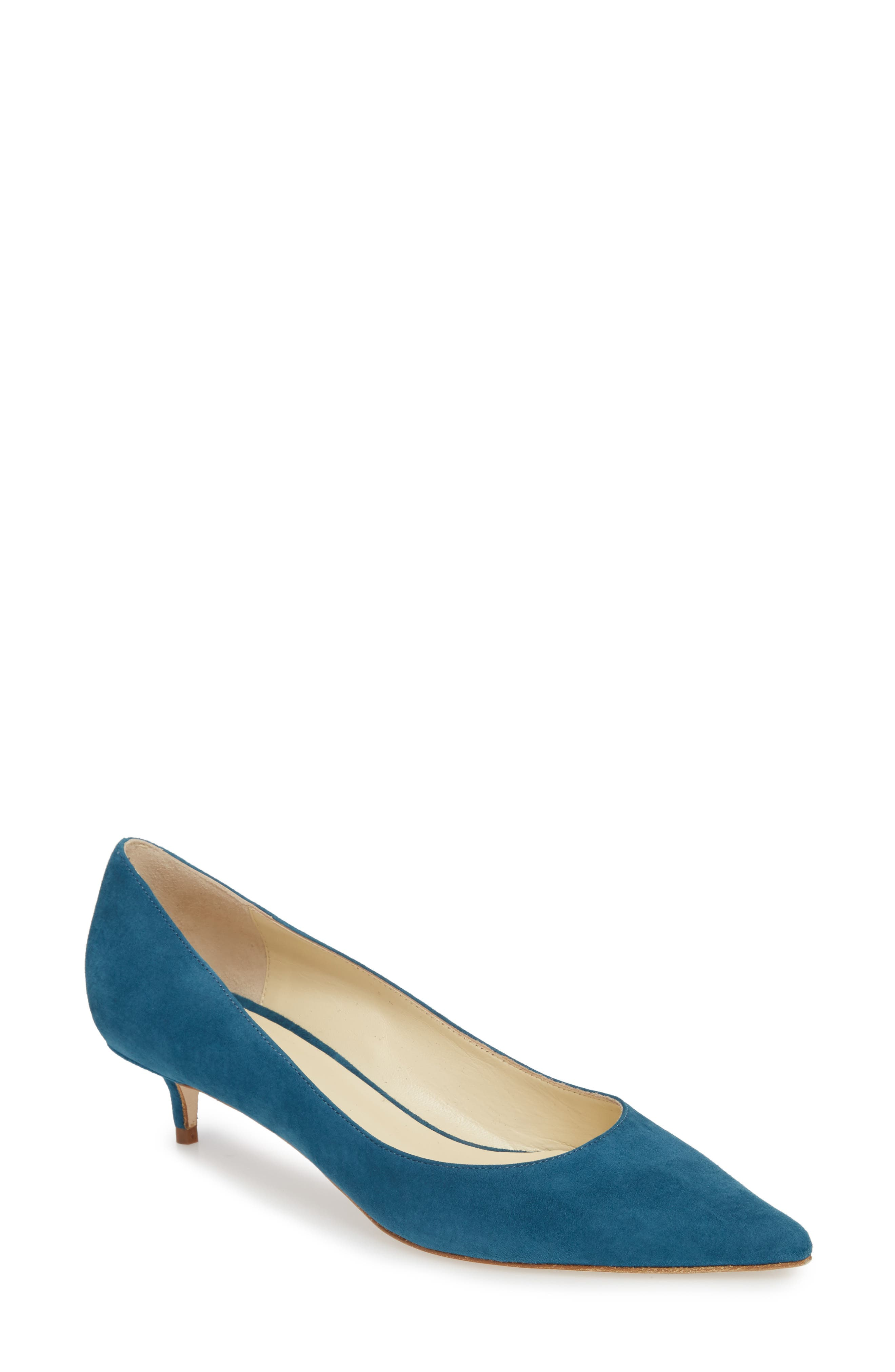 Butter Born Pointy Toe Pump,                         Main,                         color, TEAL SUEDE