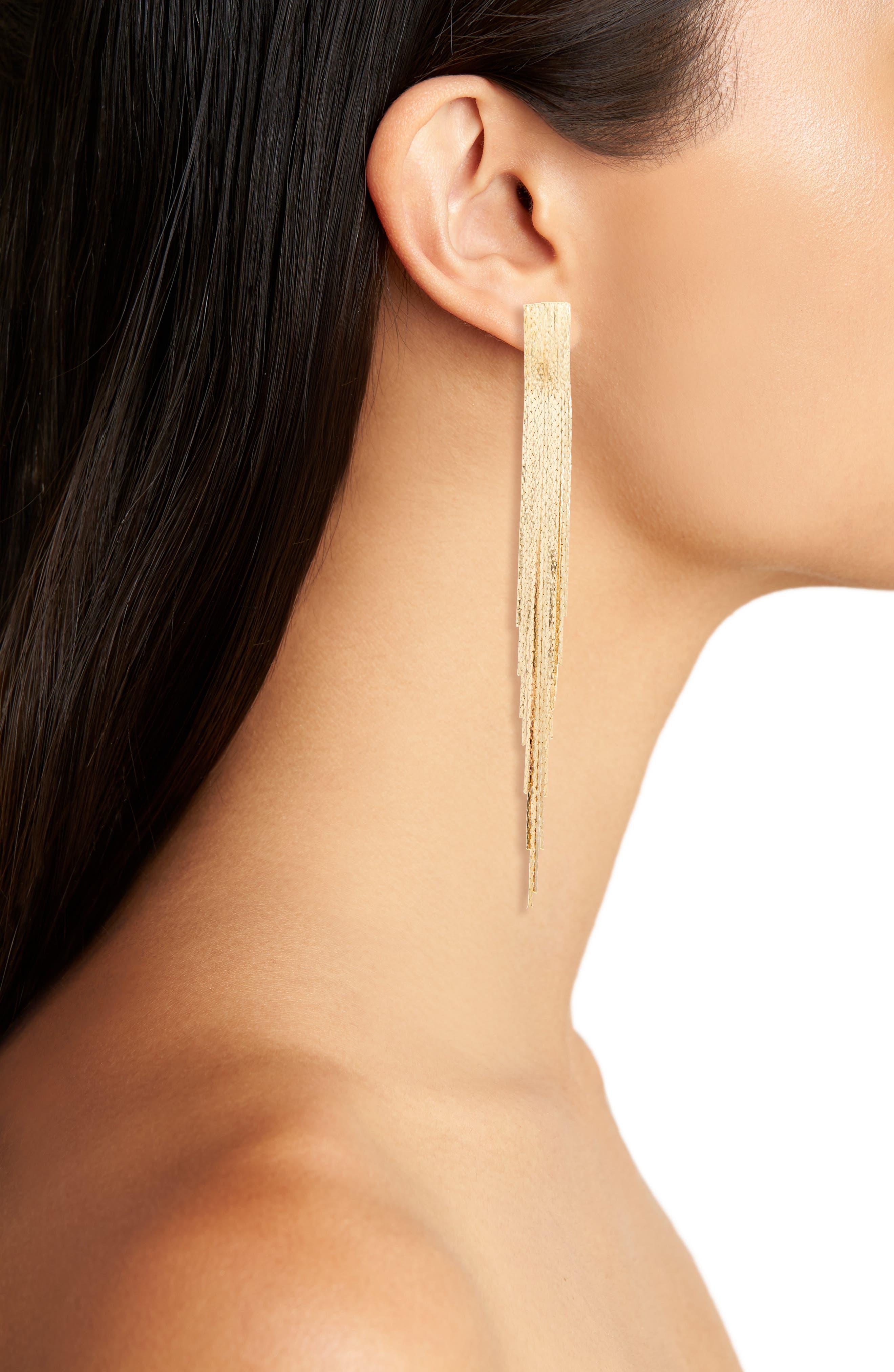 Metal Fringe Earrings,                             Alternate thumbnail 2, color,                             710