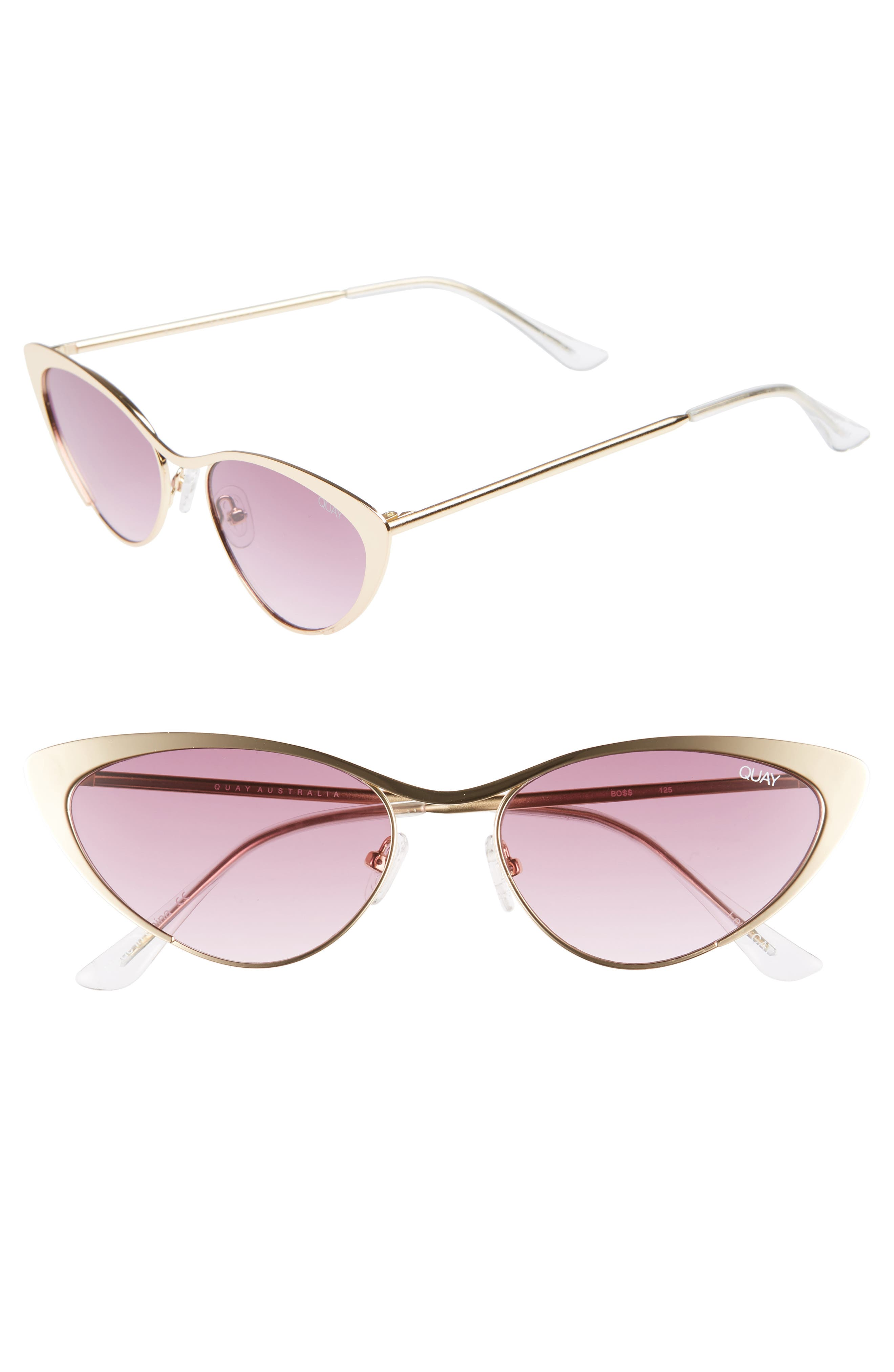Boss 53mm Cat Eye Sunglasses,                         Main,                         color, GOLD/ PURPLE