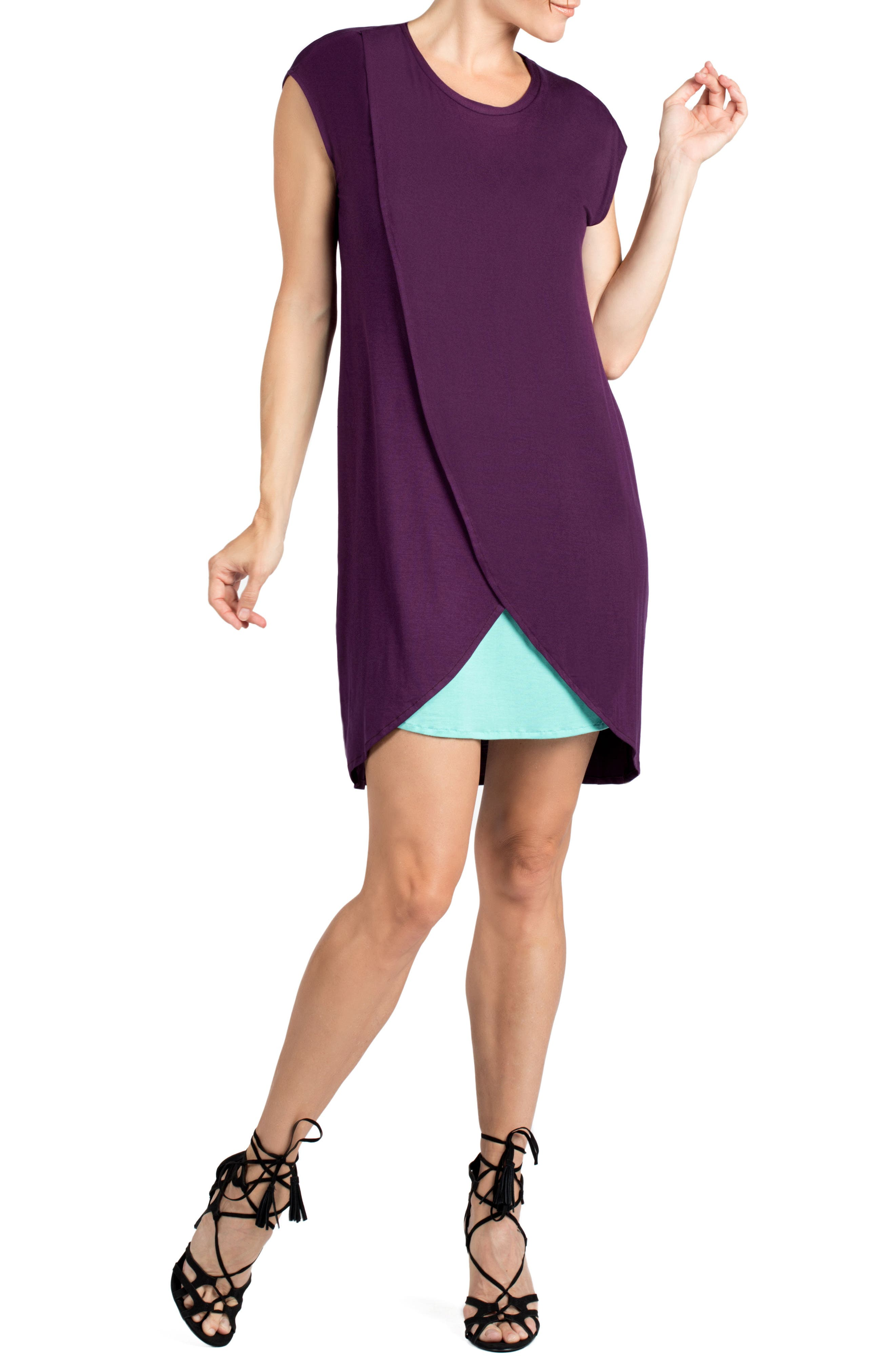 Lille Layered Maternity/Nursing Sheath Dress,                             Main thumbnail 1, color,                             EGGPLANT/ DARK MINT CONTRAST