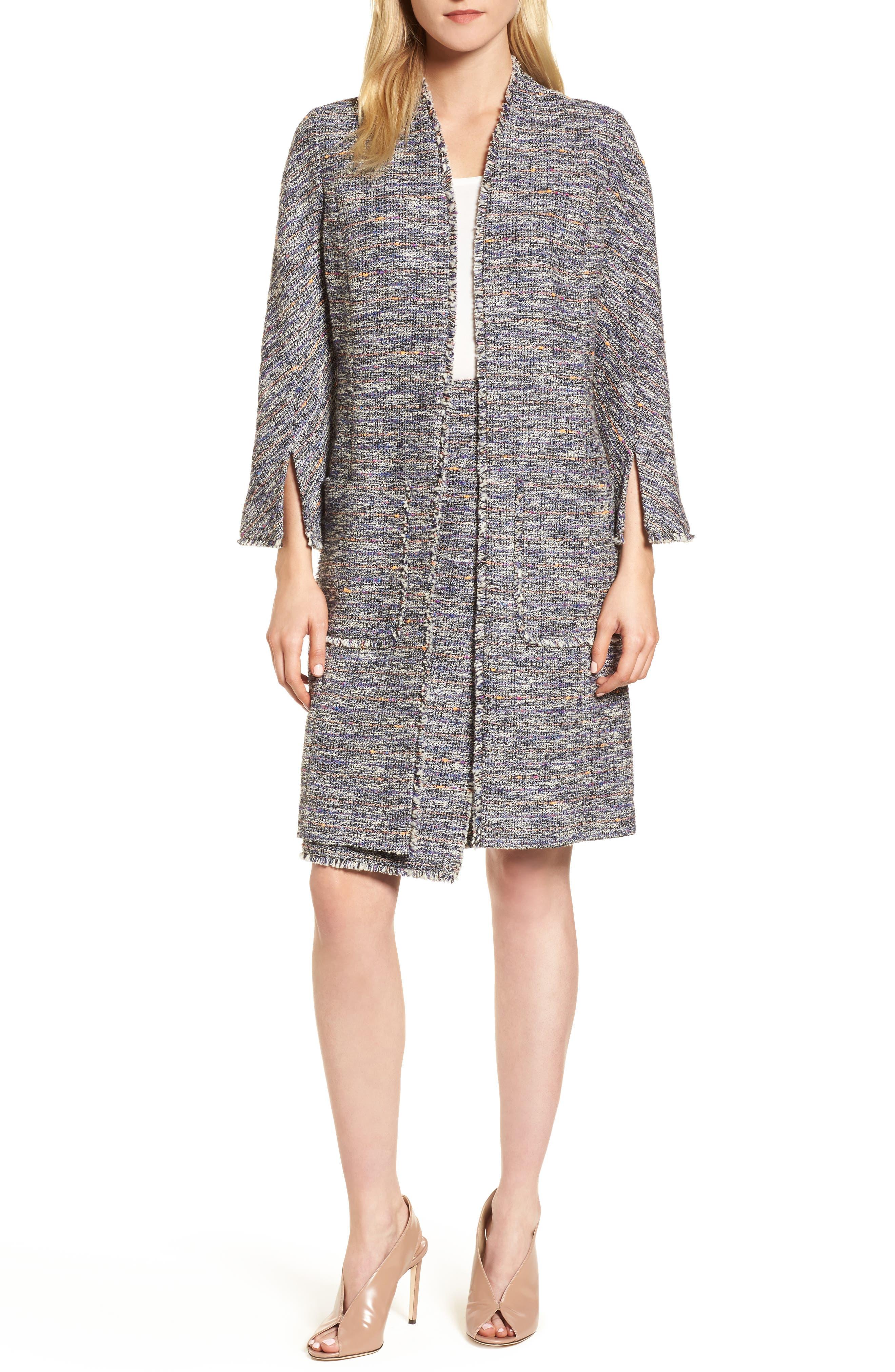 Novelty Tweed Split Sleeve Long Jacket,                             Main thumbnail 1, color,                             001