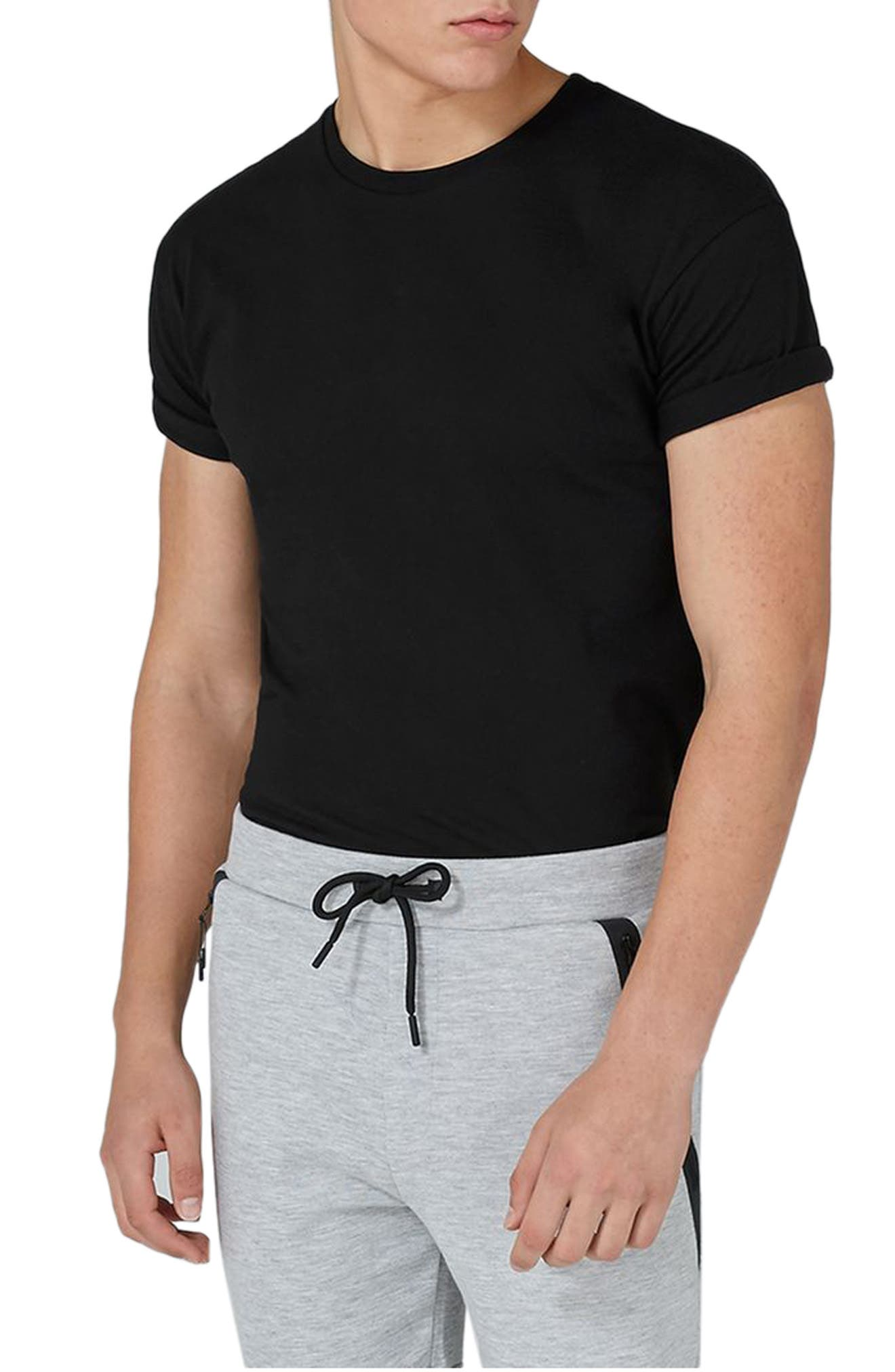 Muscle Fit Roller T-Shirt,                             Main thumbnail 1, color,                             001