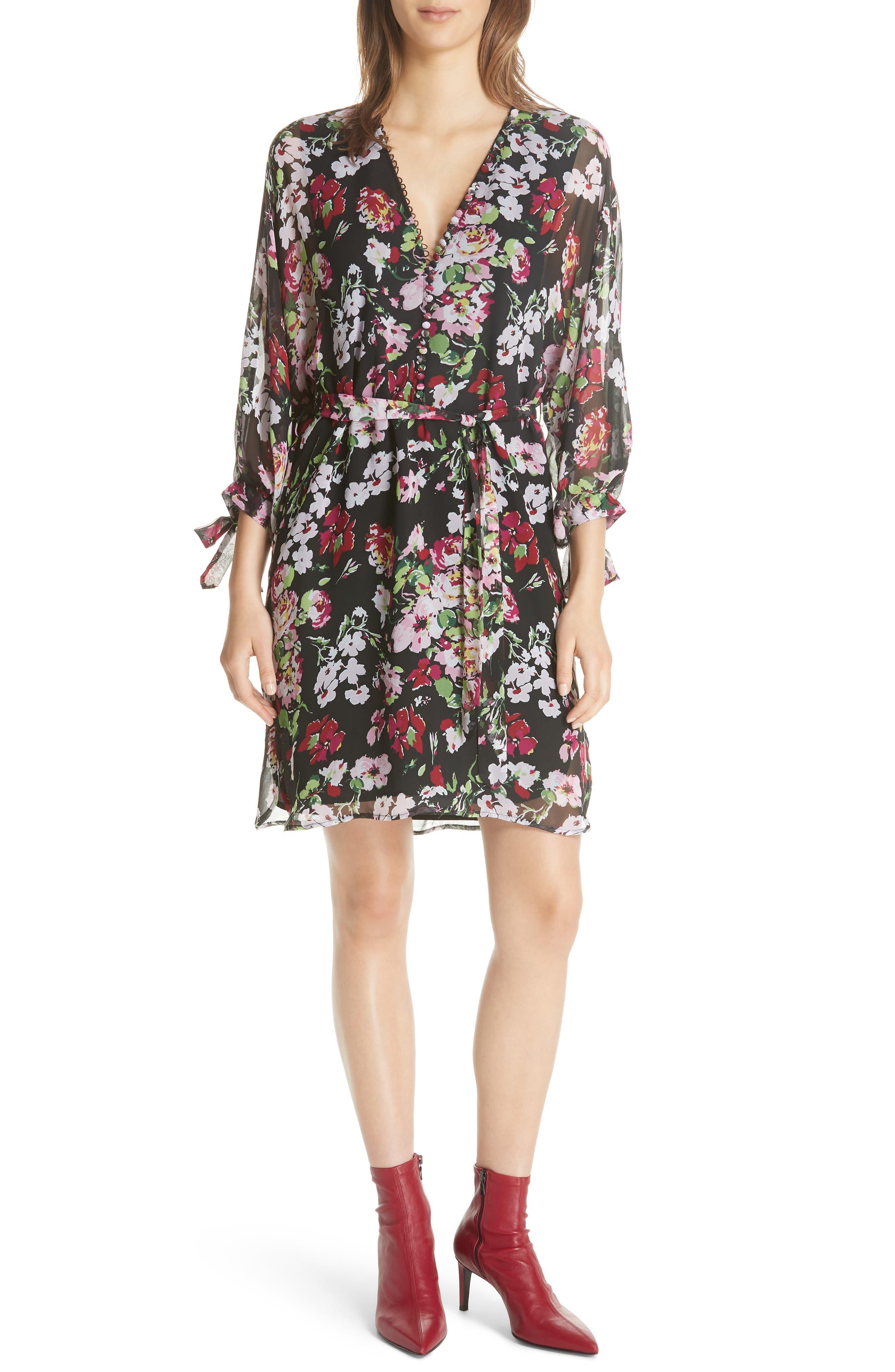 Natasha Floral Print Silk Dress,                             Main thumbnail 1, color,                             TRUE BLACK MULTI