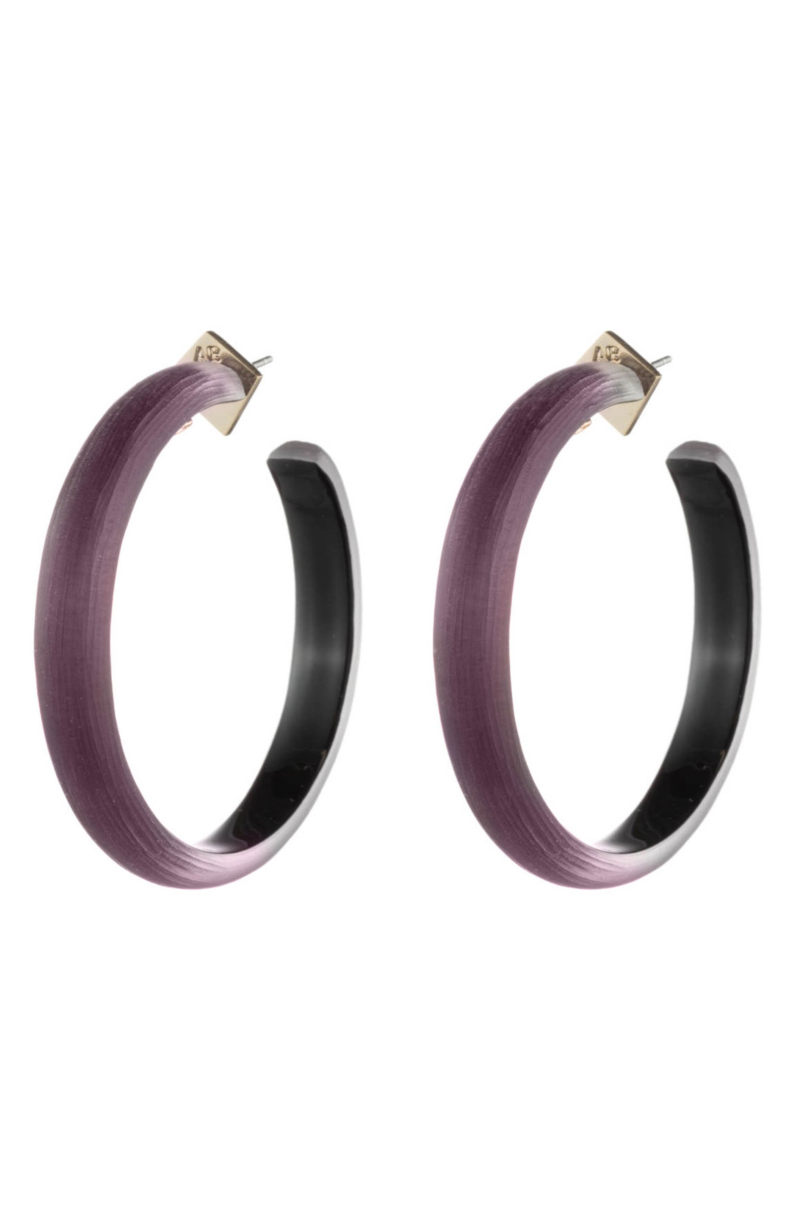 ALEXIS BITTAR Retro Gold Collection Large Lucite<sup>®</sup> Hoop Earrings, Main, color, BLACK CHERRY