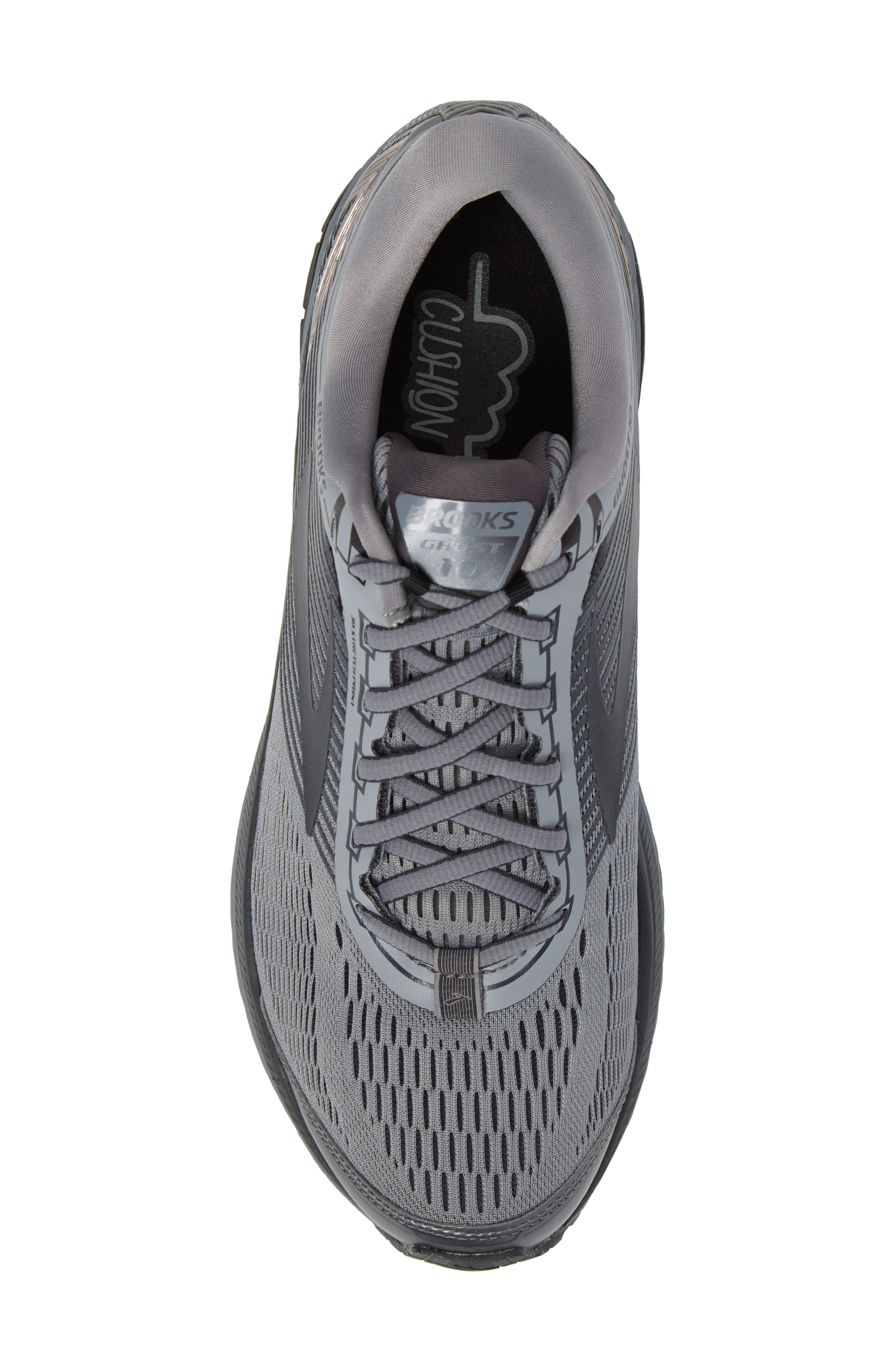 Ghost 10 Running Shoe,                             Alternate thumbnail 5, color,                             GREY/ METALLIC CHARCOAL/ EBONY