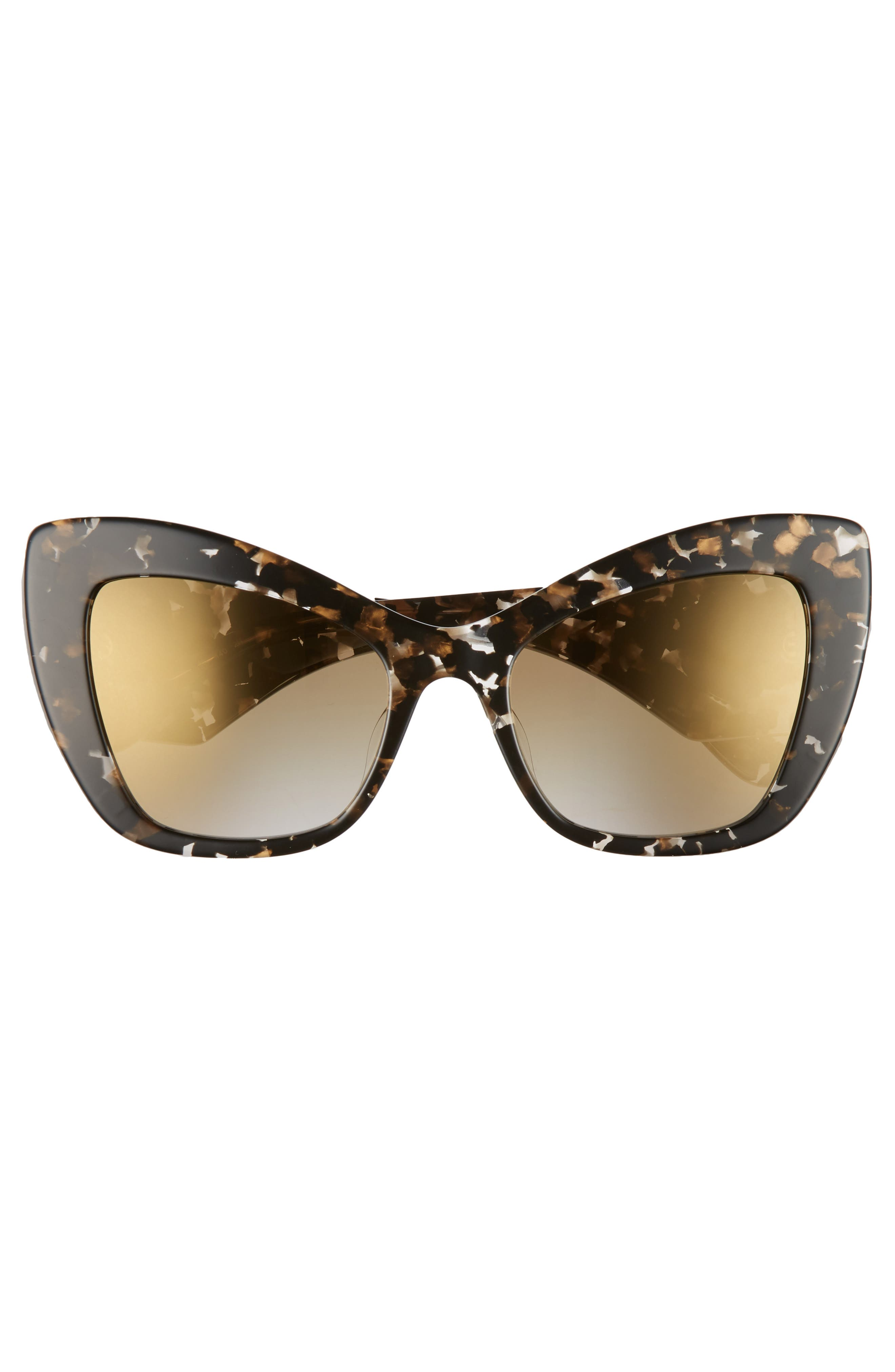 DOLCE&GABBANA,                             Sacred Heart 54mm Gradient Cat Eye Sunglasses,                             Alternate thumbnail 3, color,                             BLACK GOLD GRADIENT MIRROR