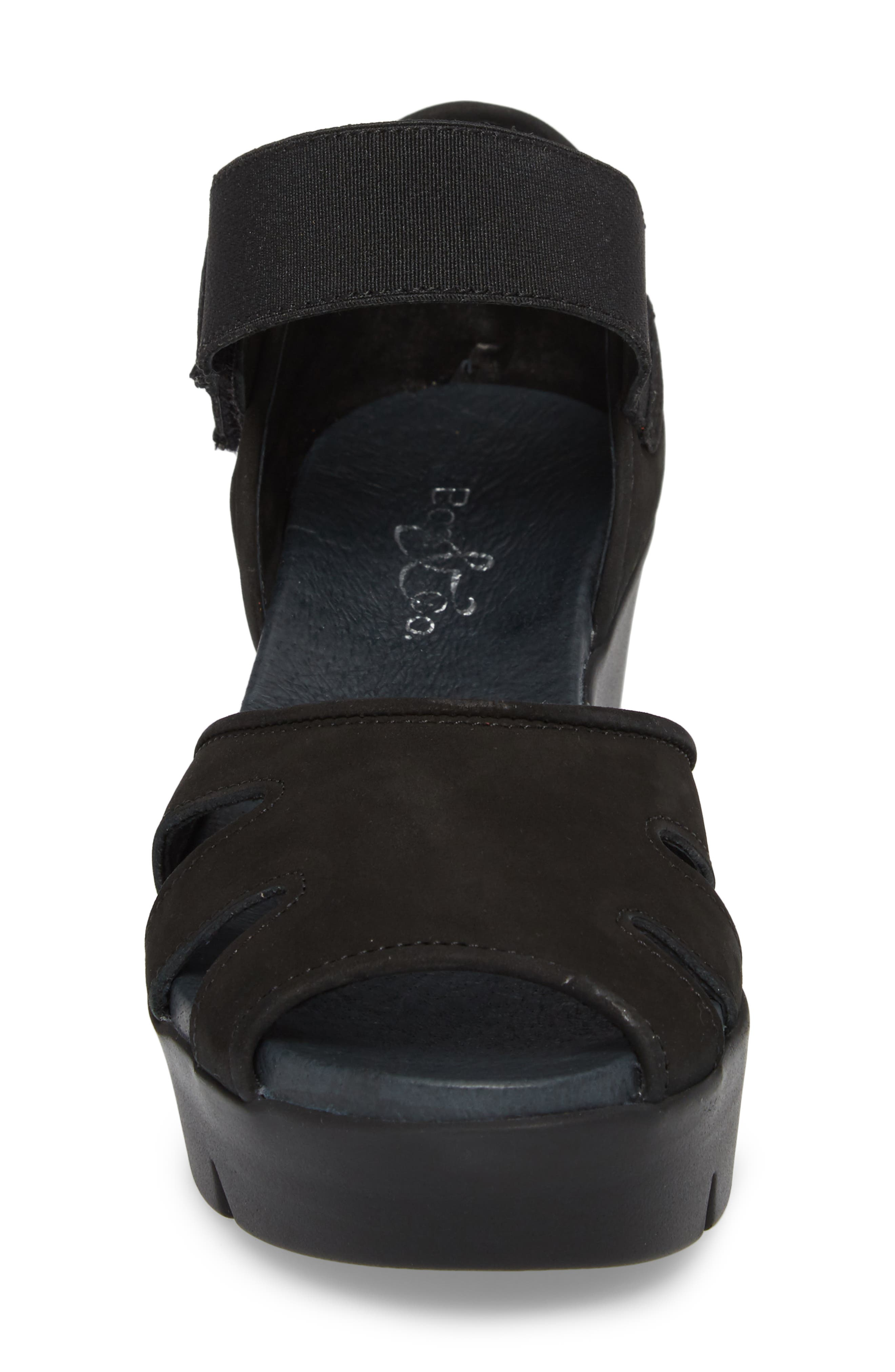 Sharon Platform Wedge Sandal,                             Alternate thumbnail 4, color,                             BLACK NUBUCK LEATHER