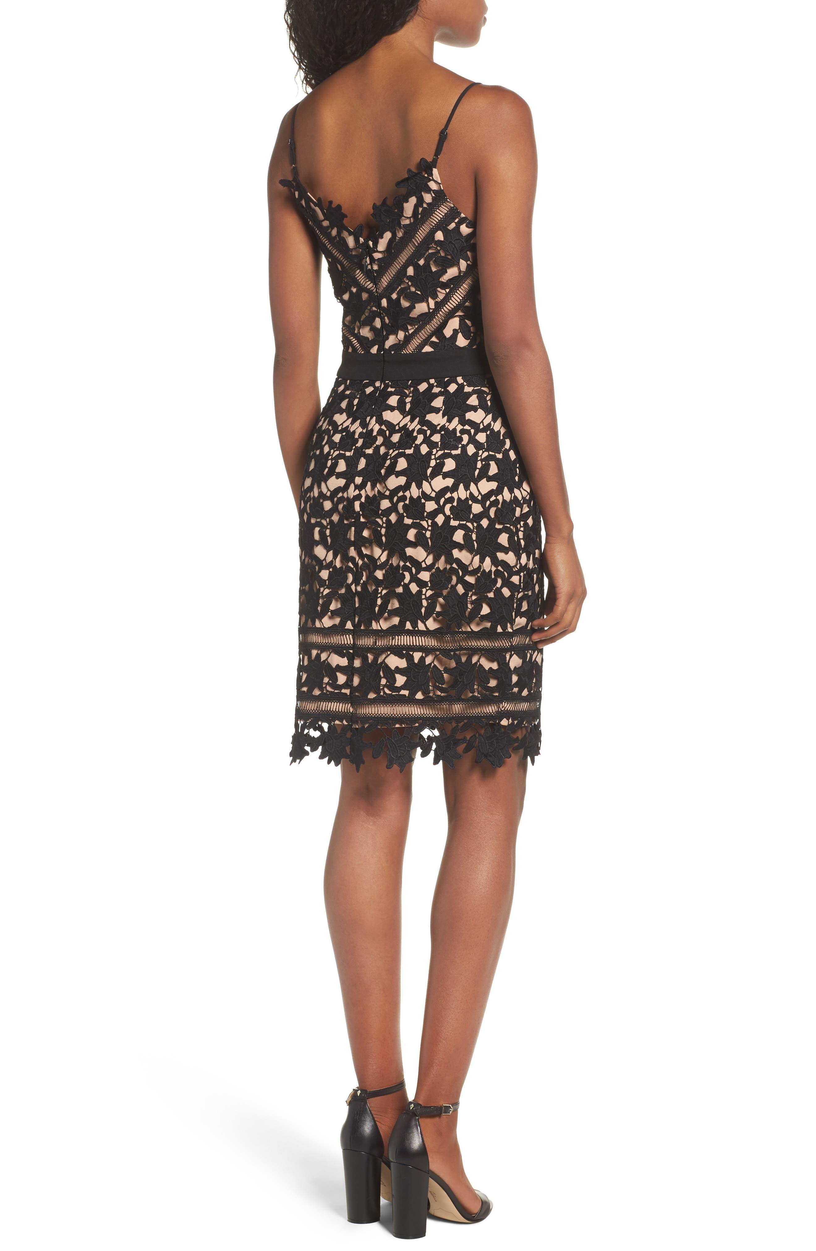 Whitney Lace Sheath Dress,                             Alternate thumbnail 2, color,                             001