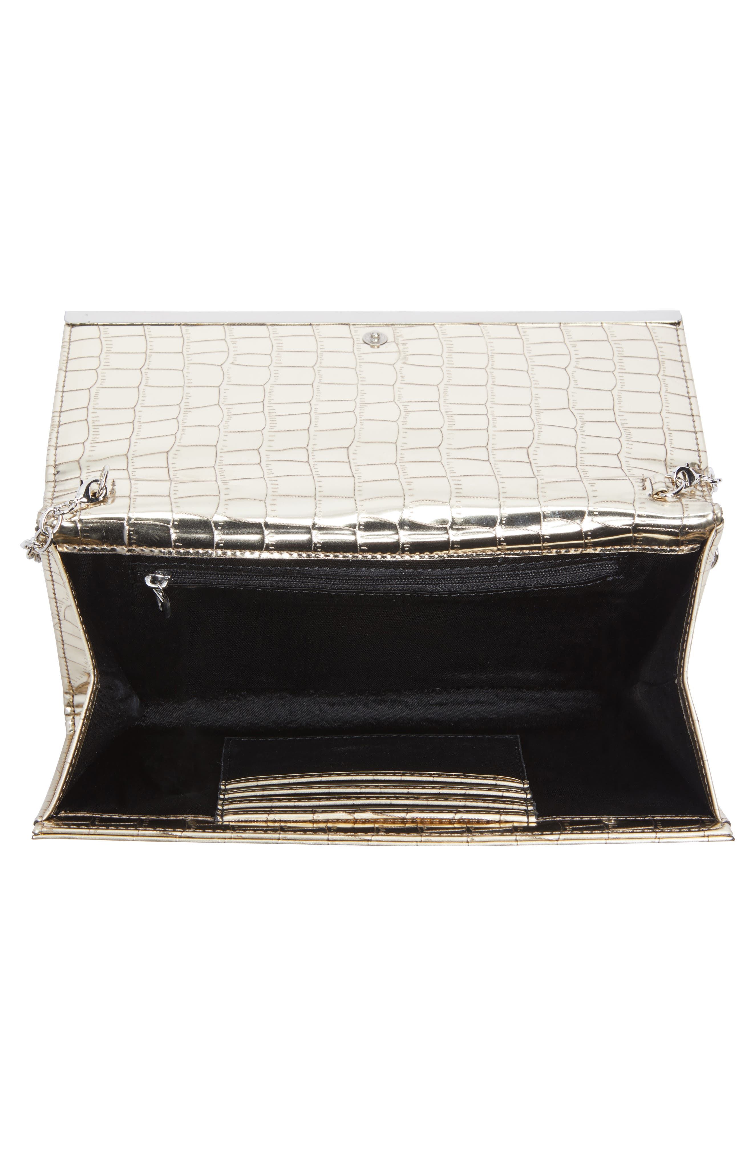 Metallic Croc-Embossed Faux Leather Clutch,                             Alternate thumbnail 4, color,                             042