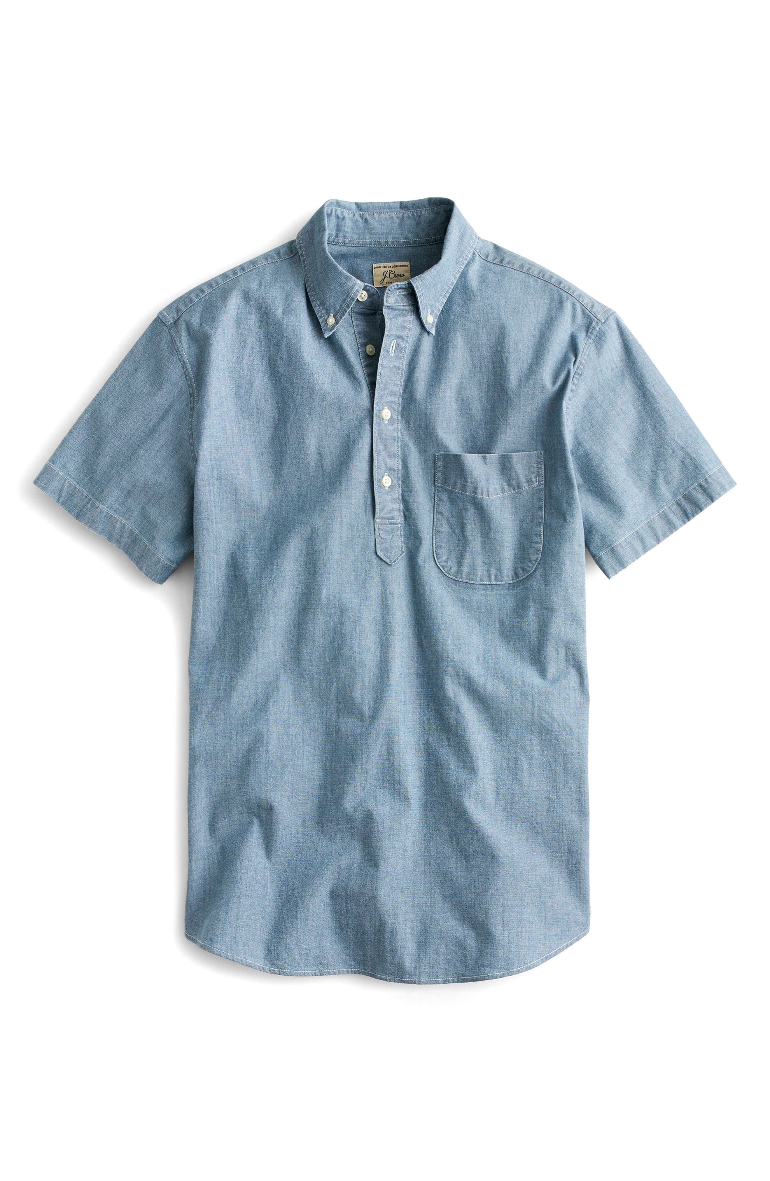 Short Sleeve Stretch Chambray Popover Shirt,                             Alternate thumbnail 3, color,                             400
