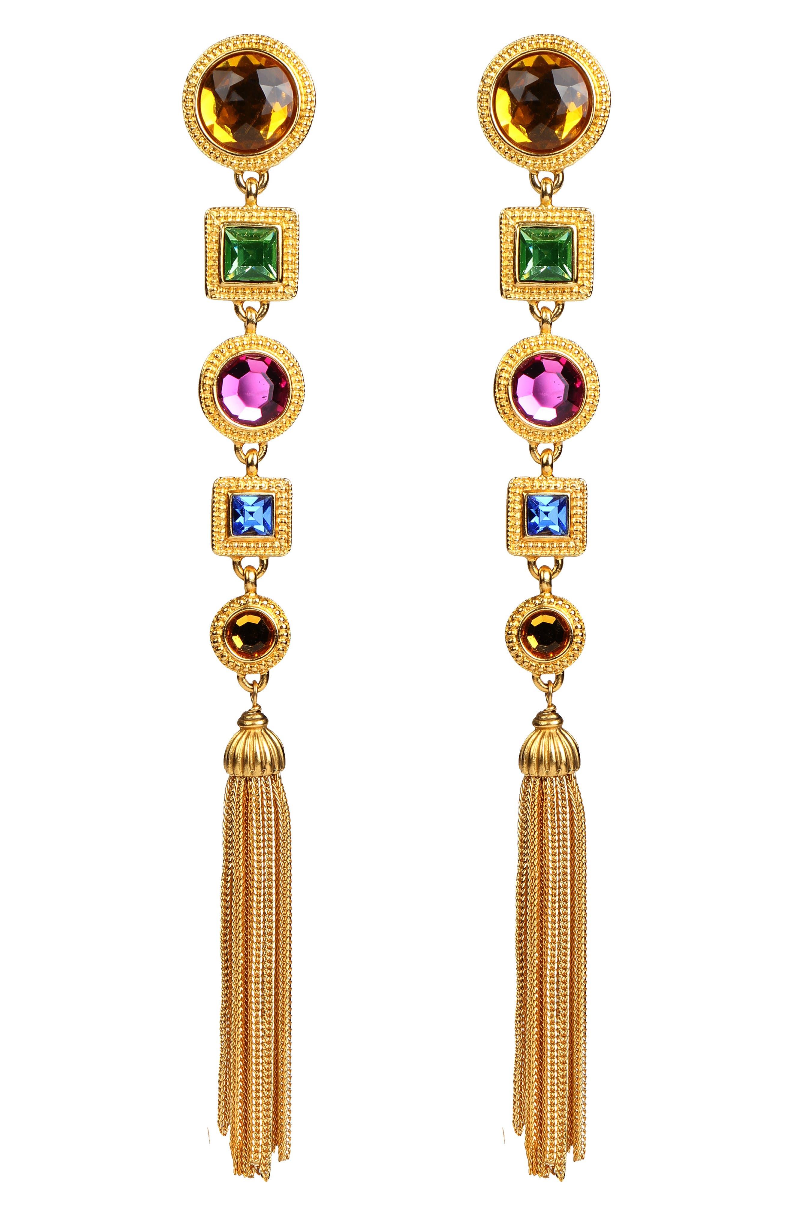 BEN-AMUN Multicolor Crystal Long Drop Clip Earrings