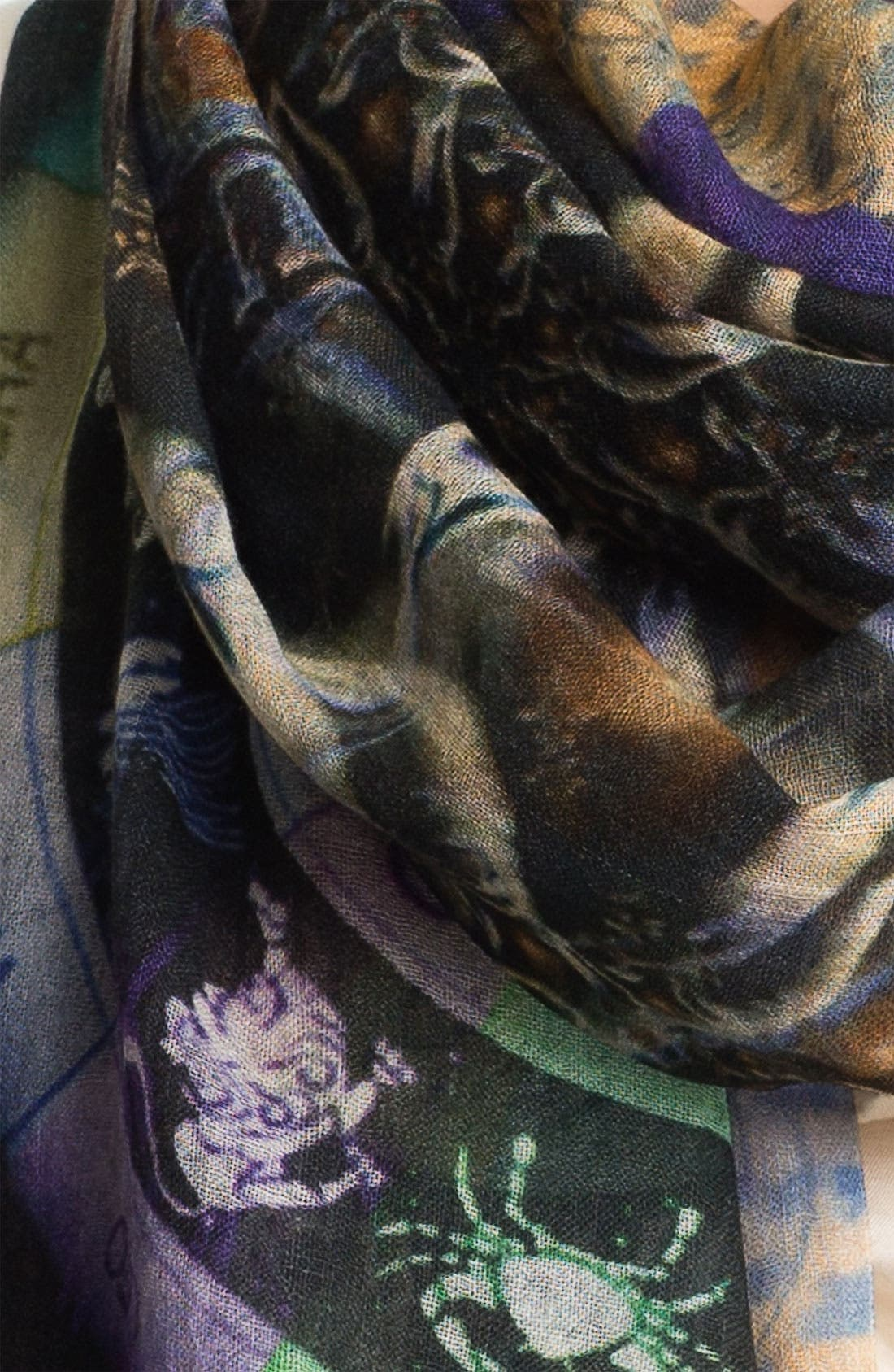 'Capricorn' Cashmere & Silk Scarf,                             Alternate thumbnail 3, color,                             001