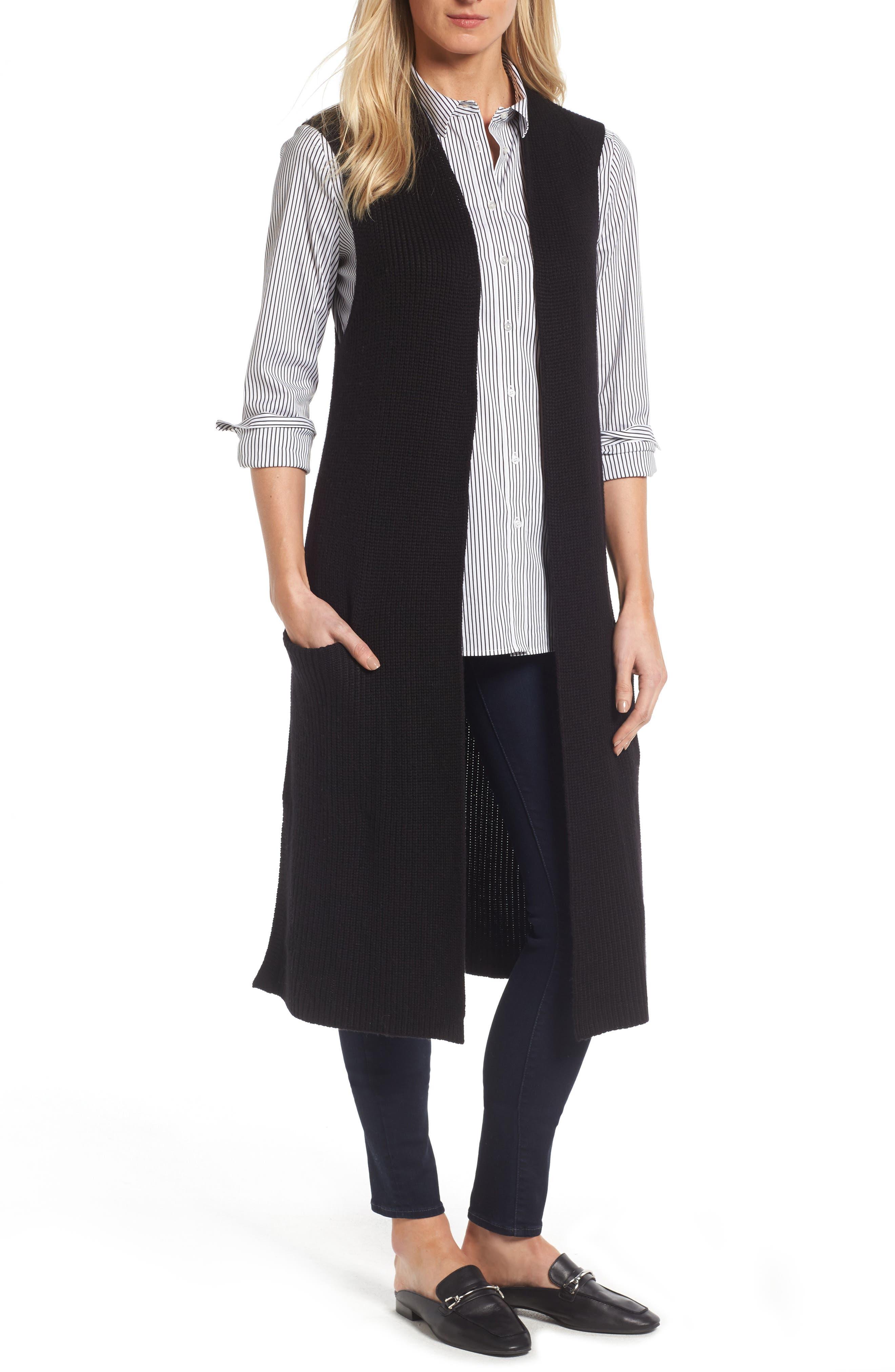 HALOGEN<SUP>®</SUP>,                             Long Knit Vest,                             Main thumbnail 1, color,                             001