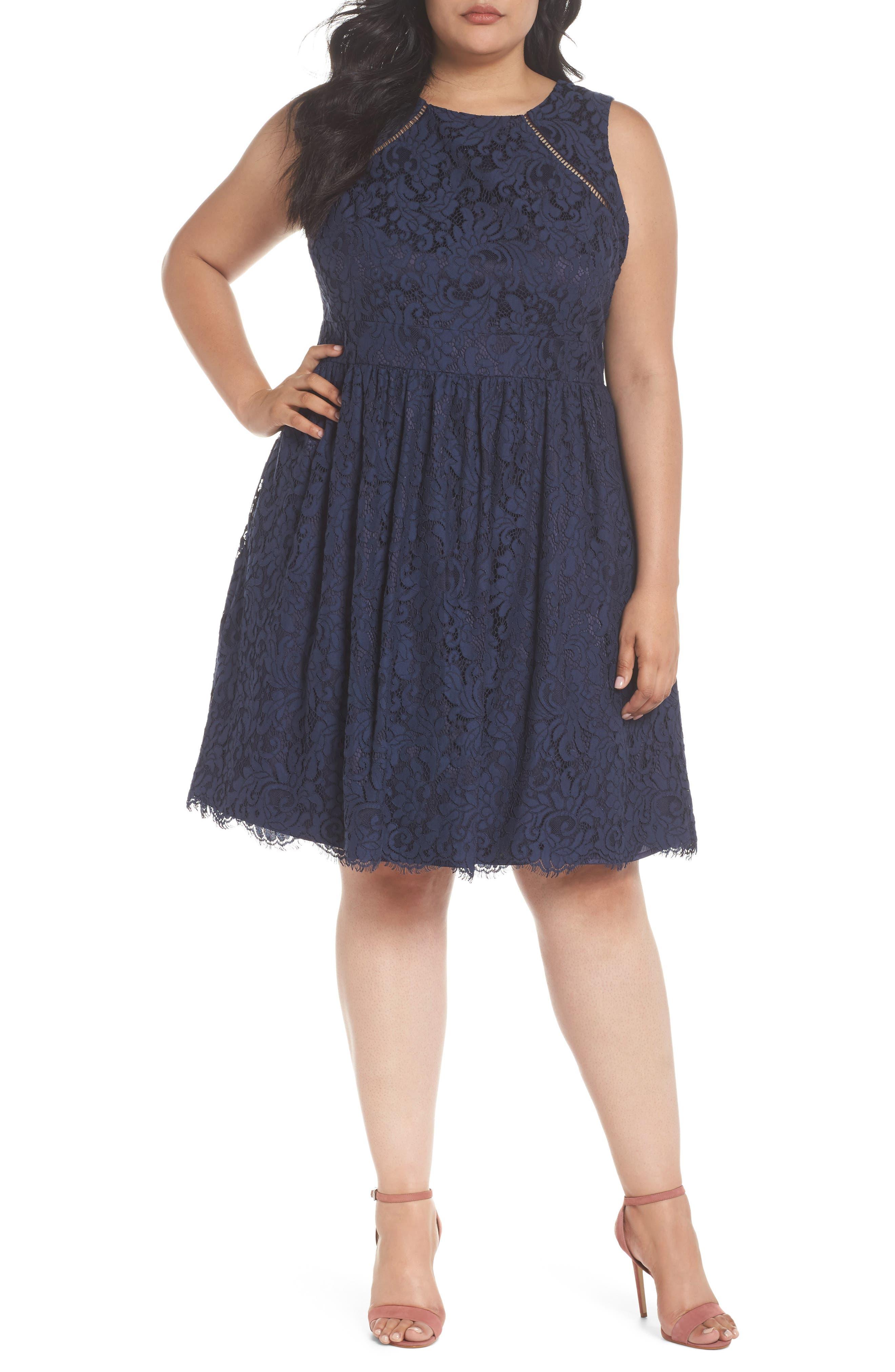 Fit & Flare Lace Dress,                         Main,                         color, 410