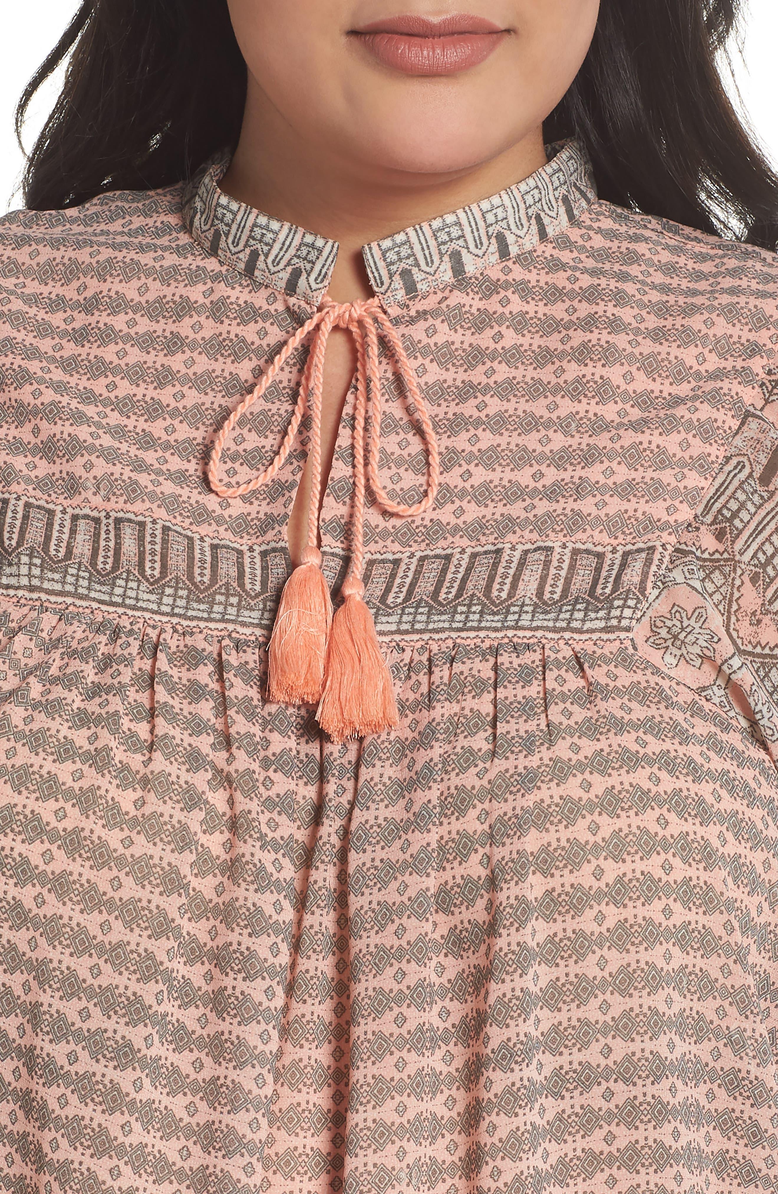 Short Sleeve Print Peasant Top,                             Alternate thumbnail 4, color,                             PINK MULTI
