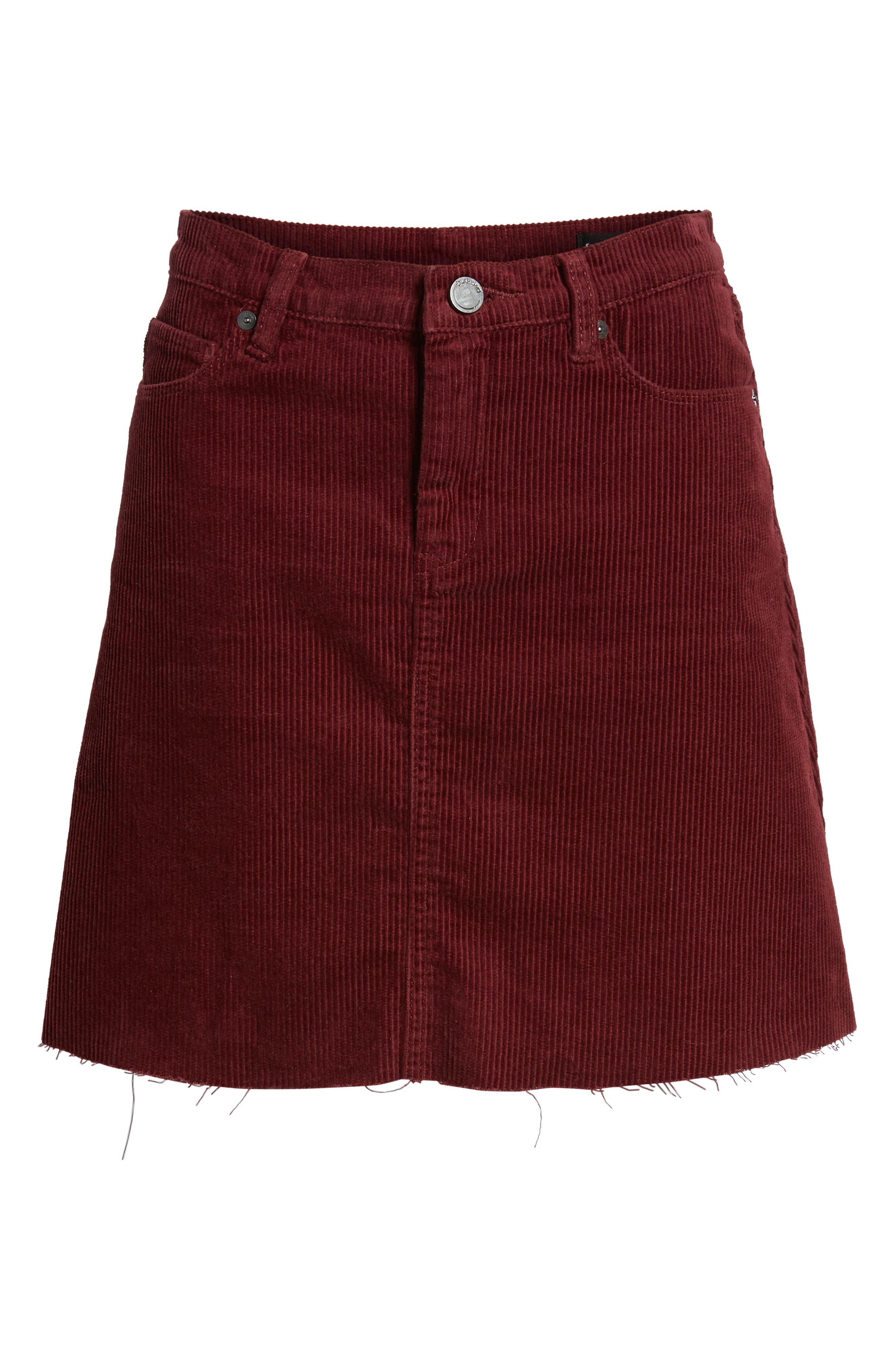 Corduroy A-Line Miniskirt,                             Alternate thumbnail 6, color,                             MERLOT