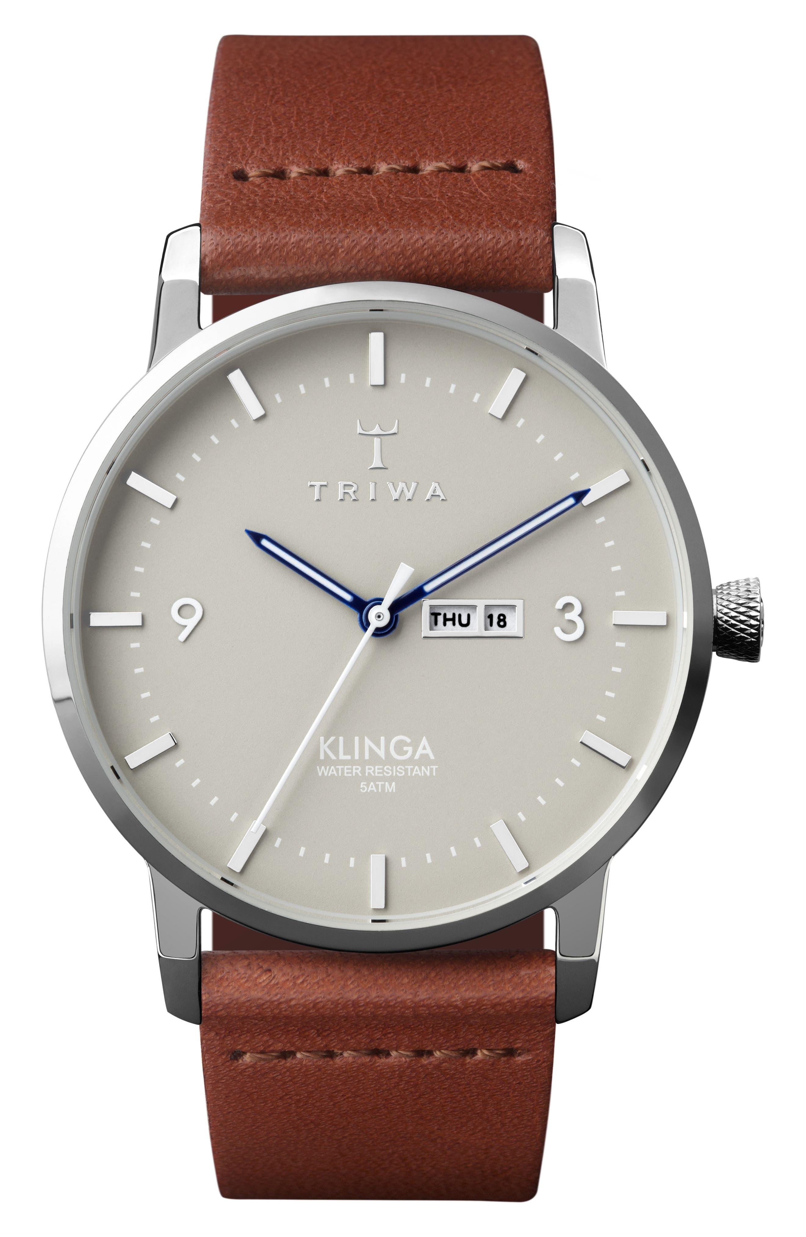 Mist Klinga Leather Strap Watch, 38mm,                             Main thumbnail 1, color,                             COGNAC/ SILVER