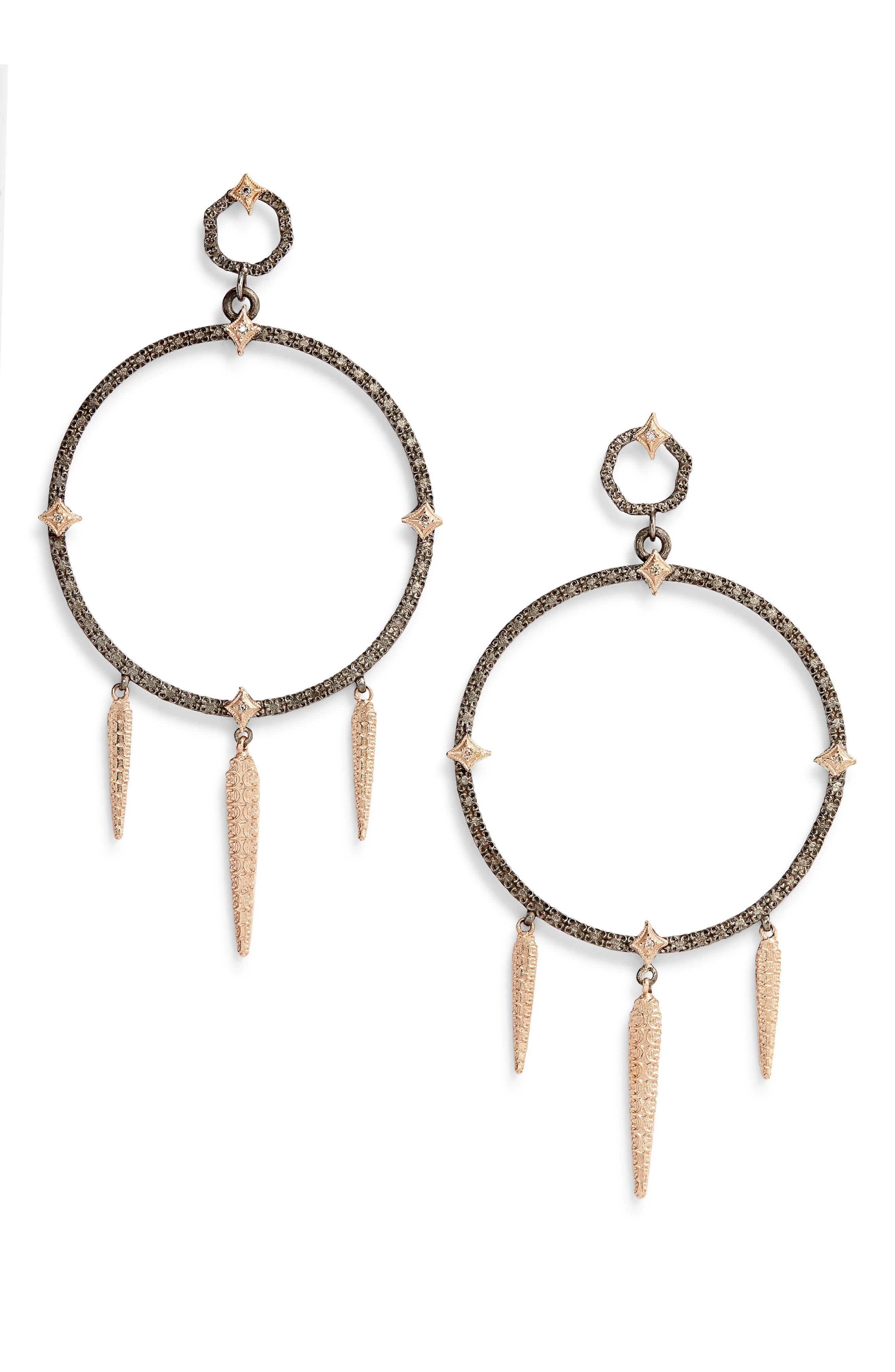 New World Large Circle Dagger Earrings,                             Main thumbnail 1, color,                             GOLD/ BLACKENED SILVER