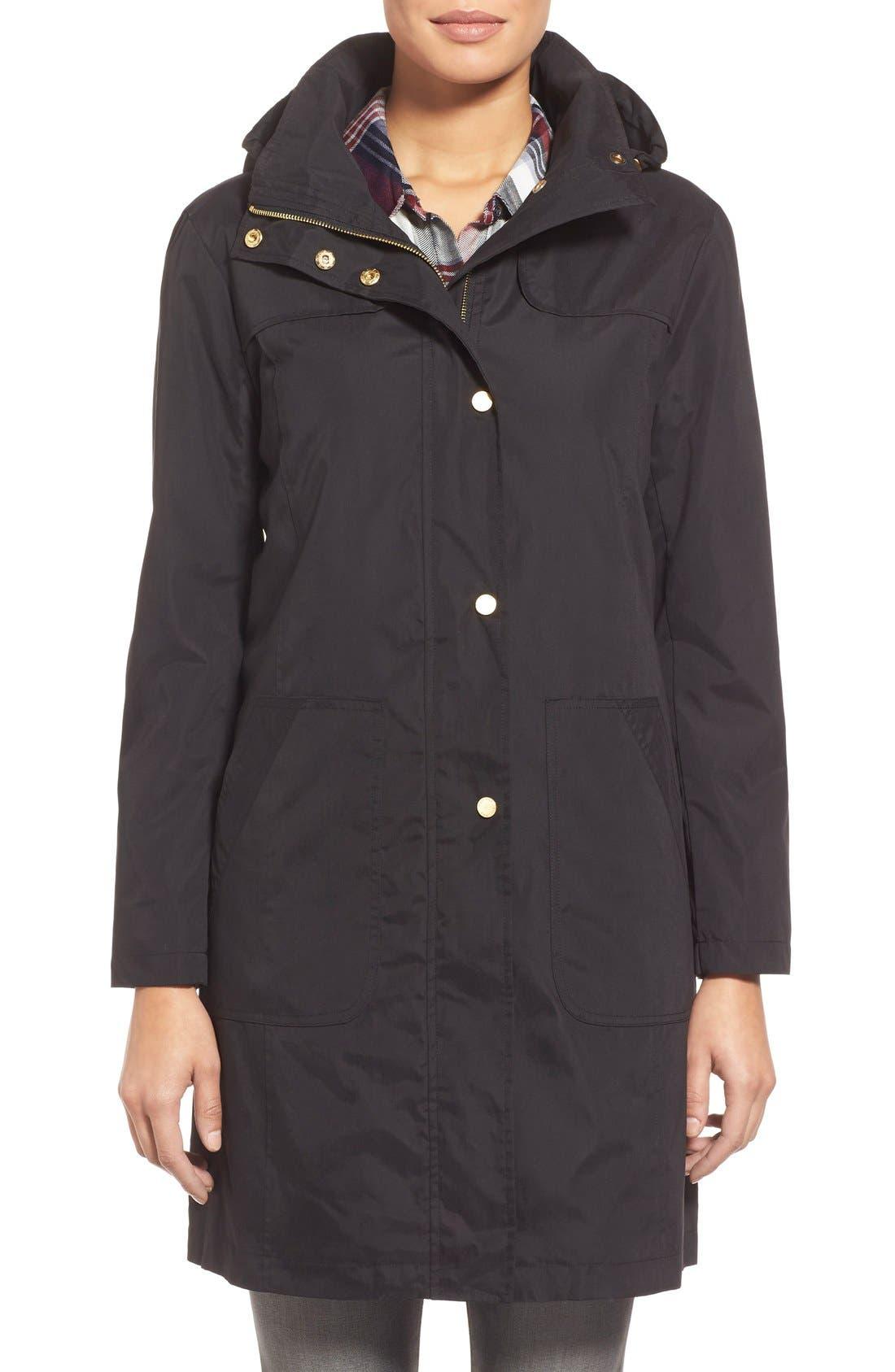 A-Line Raincoat with Detachable Hood,                             Main thumbnail 1, color,                             001